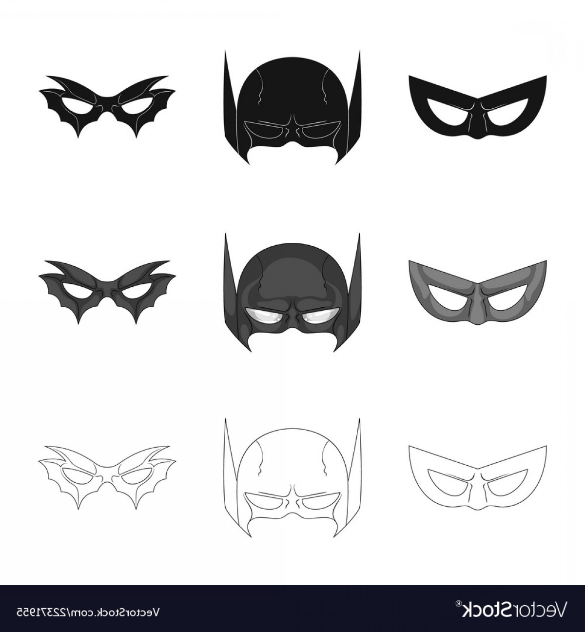 Batman Mask Sketch Vector: Isolated Object Of Hero And Mask Symbol Set Of Vector