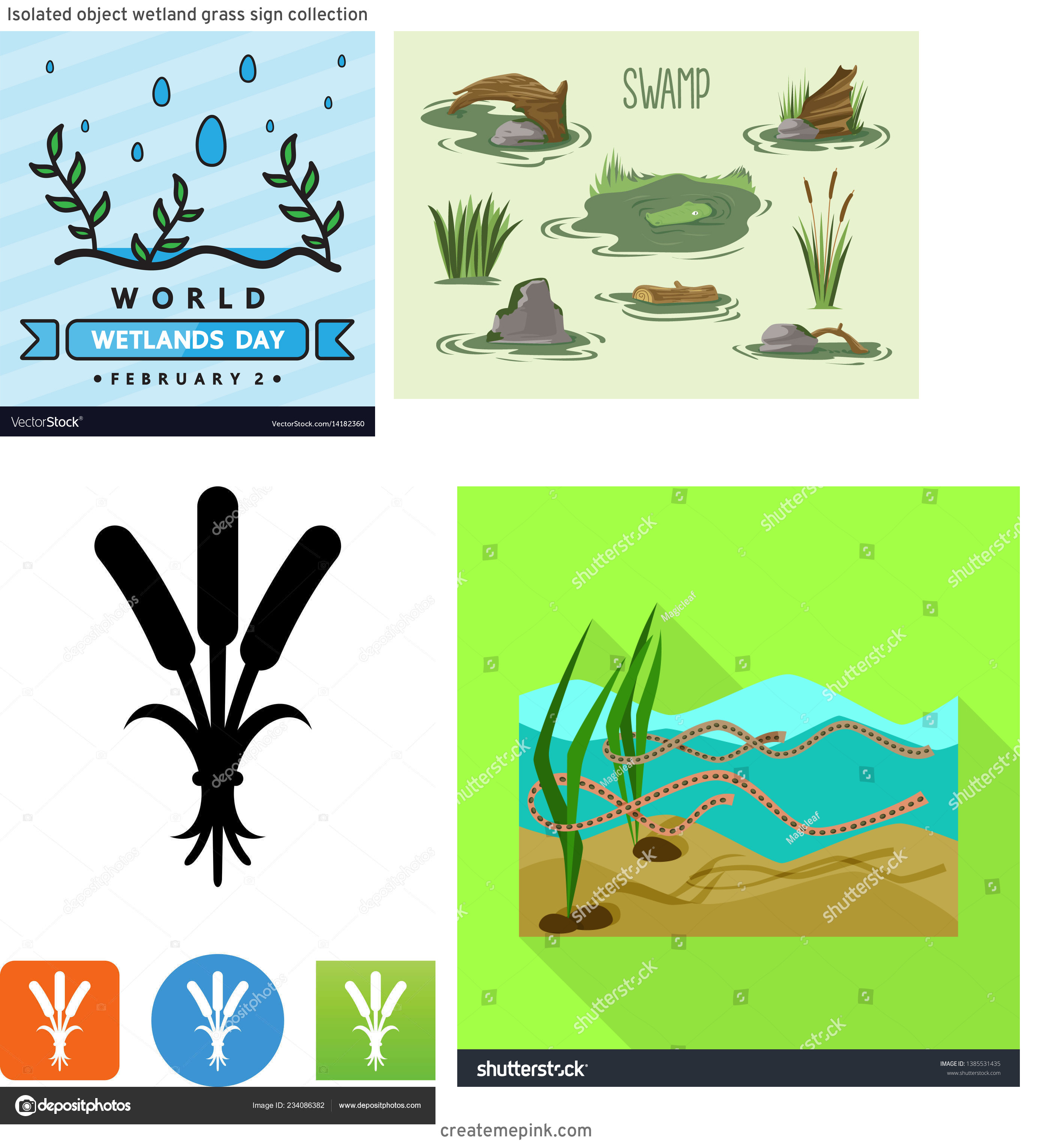 Vector Wetland: Isolated Object Wetland Grass Sign Collection
