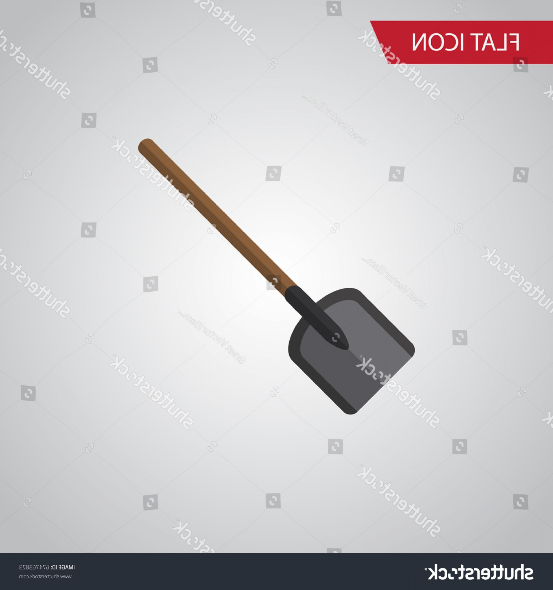 Shovel Vector: Isolated Spade Flat Icon Shovel Vector
