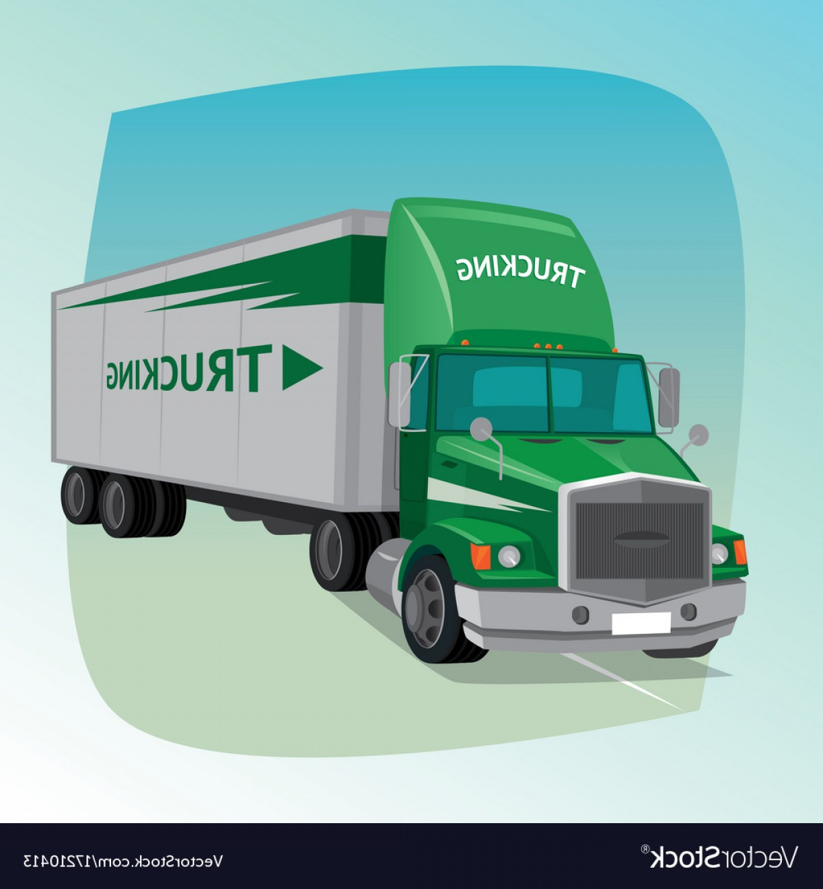 Vector Truck And Trailer Hauling: Isolated Truck With Box Semi Trailer Vector