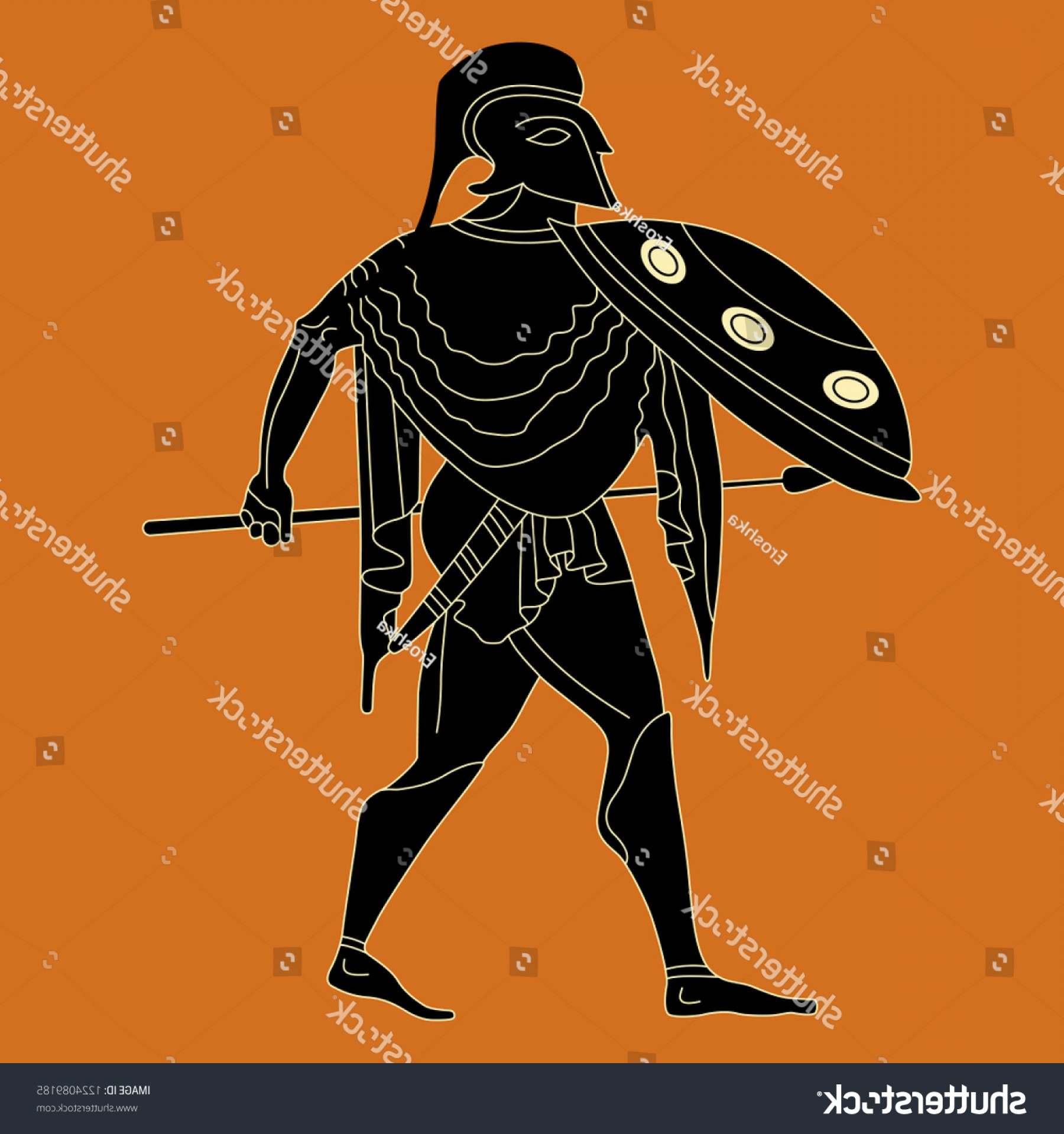 Greek Warrior Stock Vector: Isolated Vector Illustration Silhouette Ancient Greek