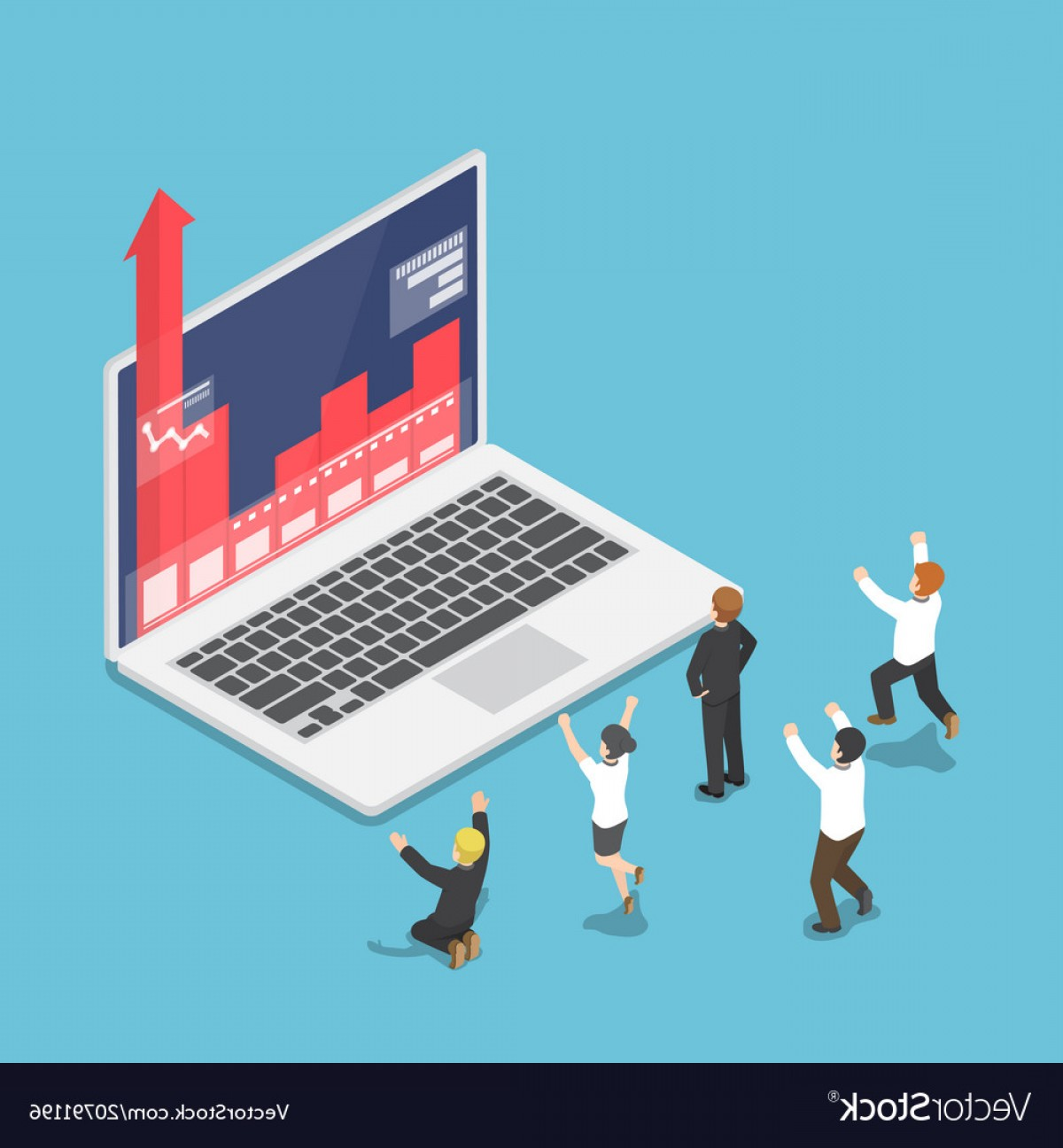 Growth Vector People: Isometric Business People Happy When Graph Growth Vector