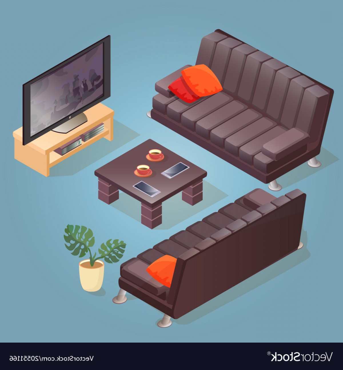 Back Of The Couch Vector: Isometric Cartoon Sofa Tv Icon Isolated On Blu Vector