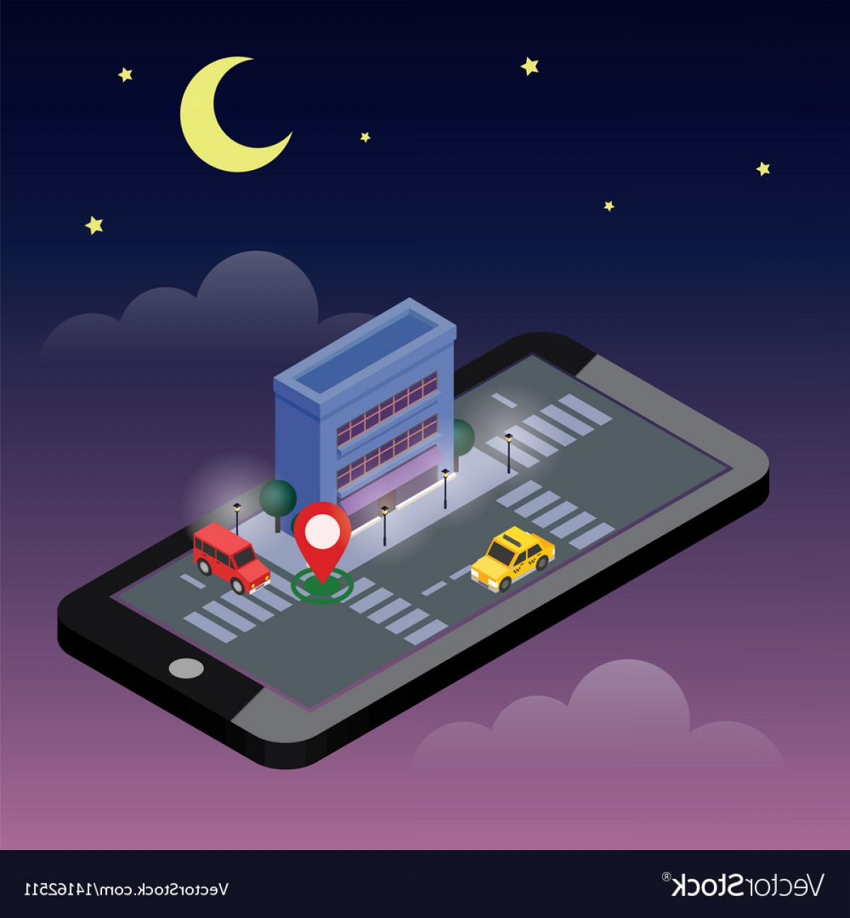 Geo-Tracking Vector: Isometric City Mobile Geo Tracking Map City Vector