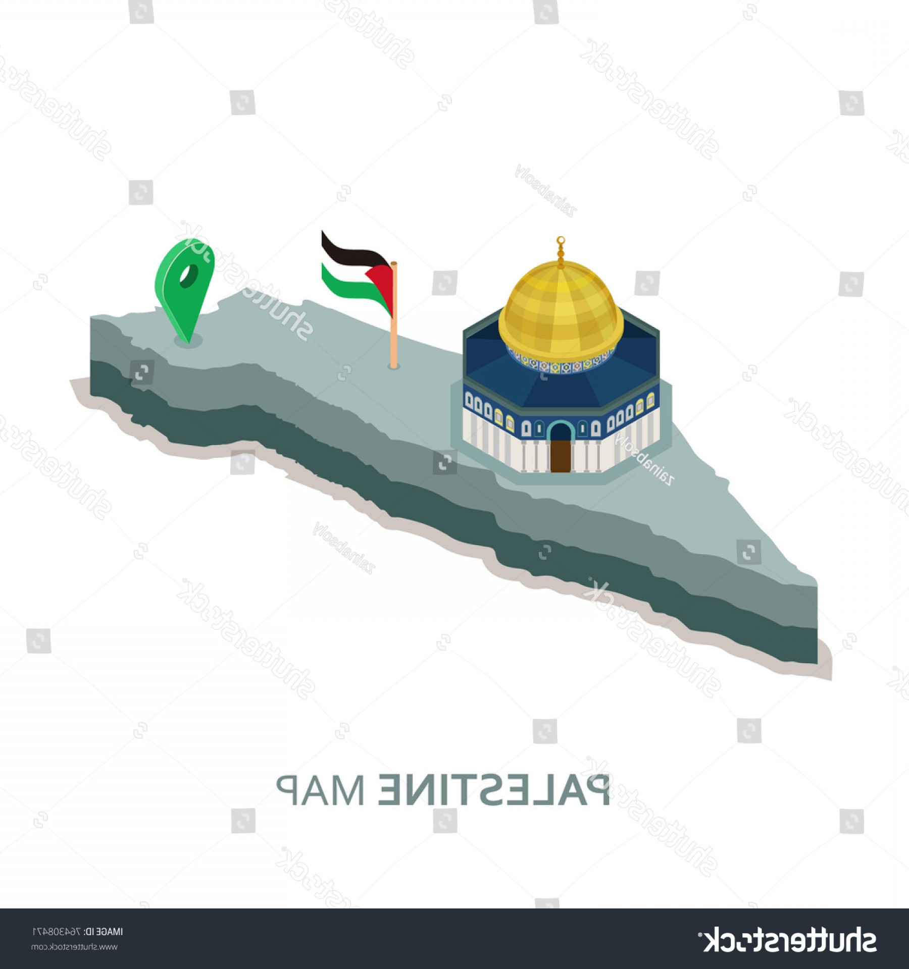 Mosque Vector Map: Isometric D Palestine Map Flag Dome