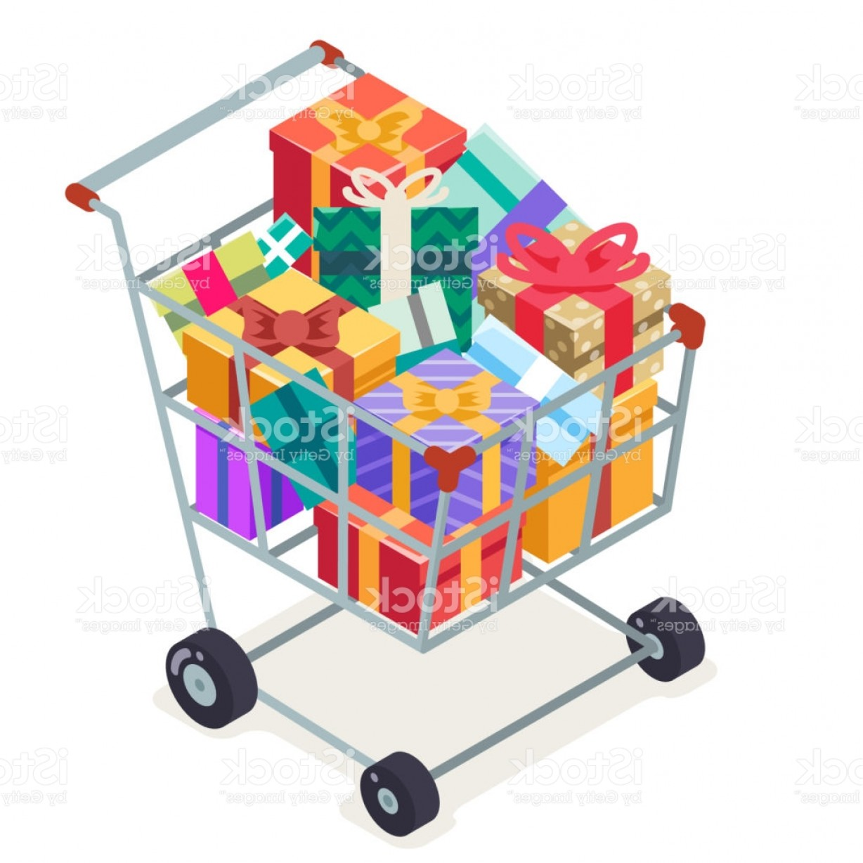 Purchase Vector Art: Isometric D Shopping Cart Purchase Goods Gift Isolated Object Icon Flat Design Gm