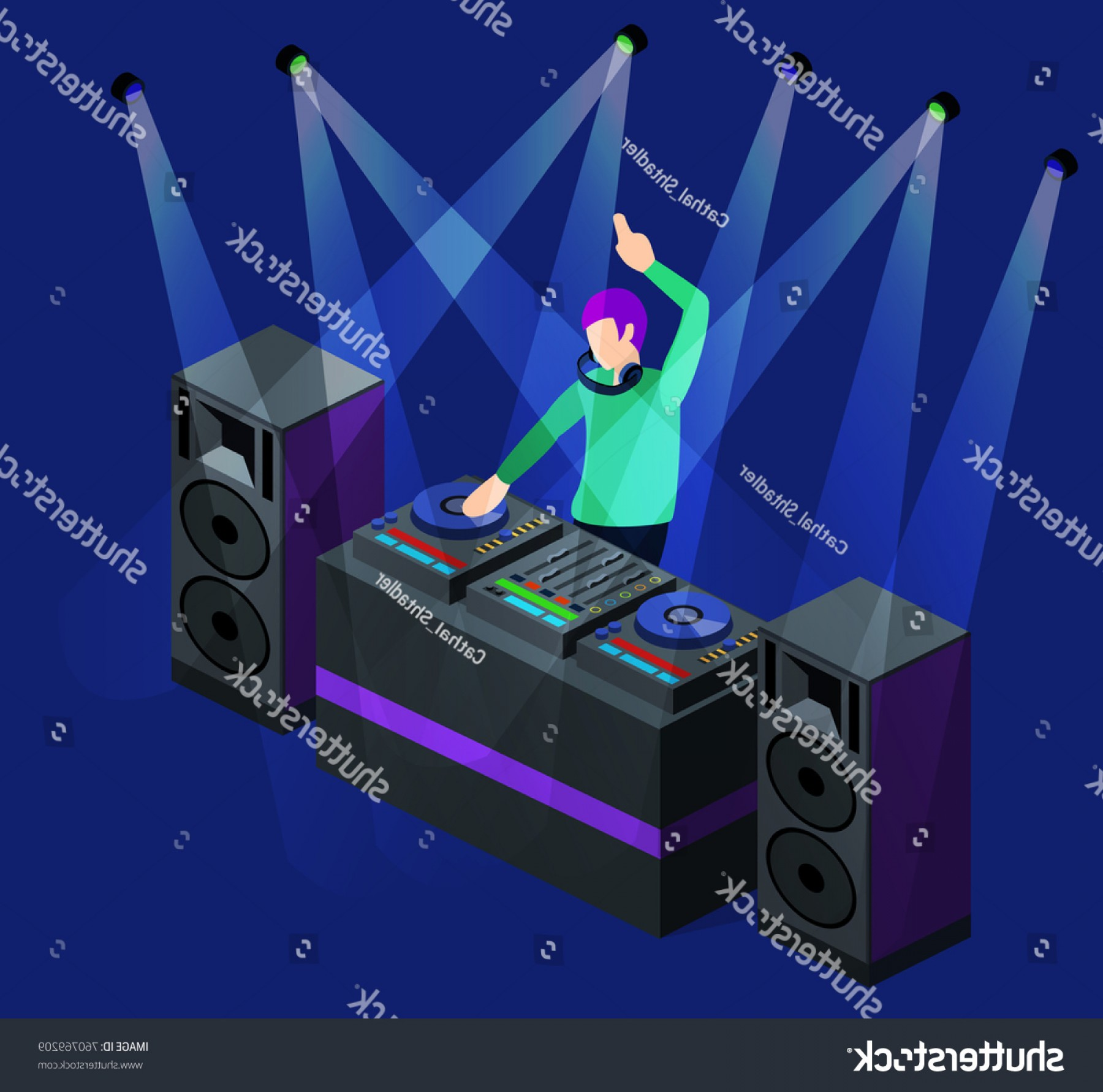 D Night Stanf Vector Graphic: Isometric D Vector Dj Party On