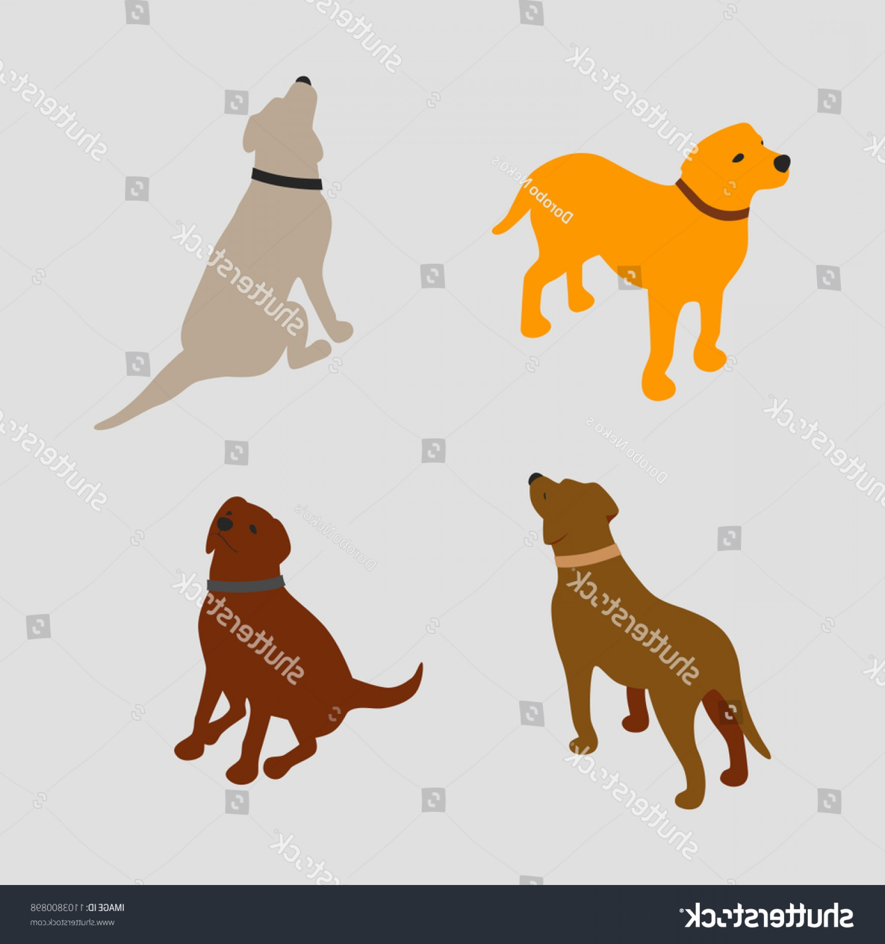 Double Boxer Dog Vector: Isometric Dog Set Vector Simple Illustration