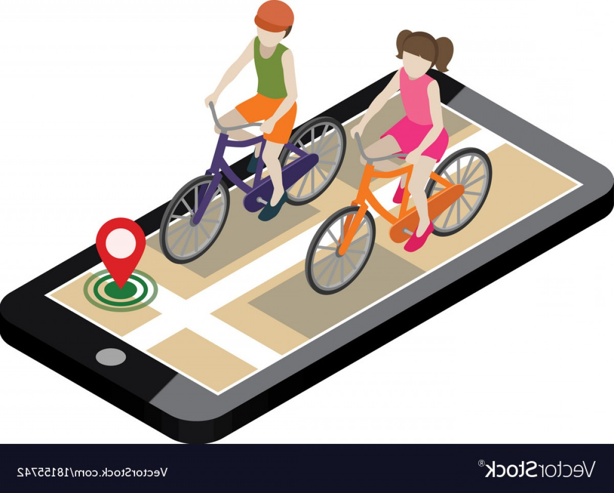 Geo-Tracking Vector: Isometric Location Mobile Geo Tracking Boy And Vector