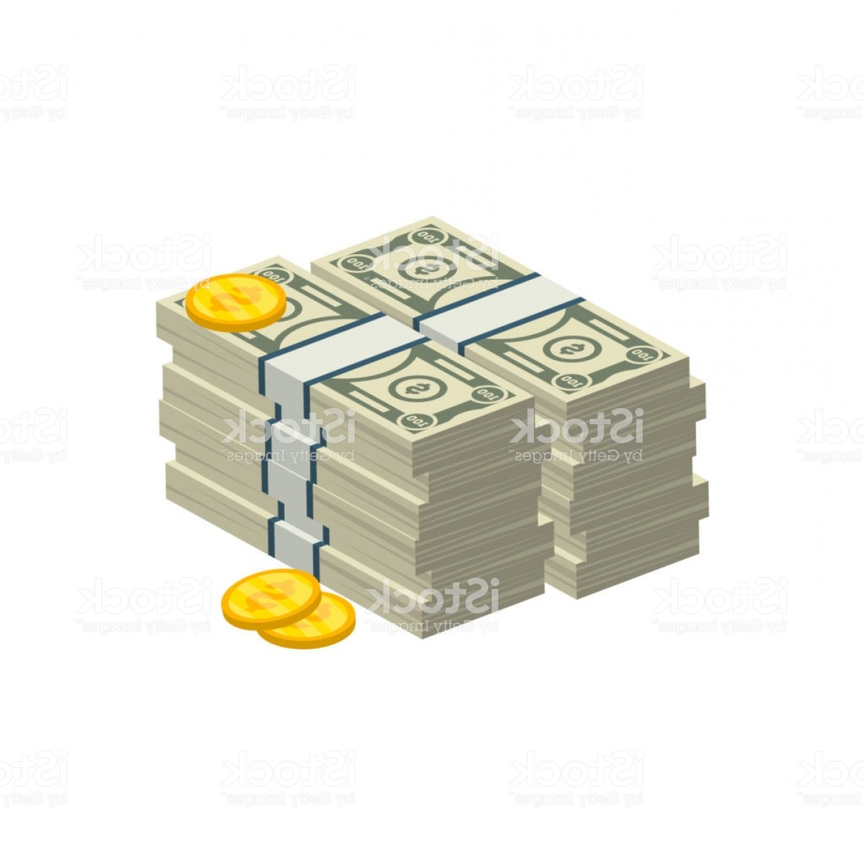 Hundreds Of Money Stacks Vector: Isometric Money Stack Isolated Icon Gm