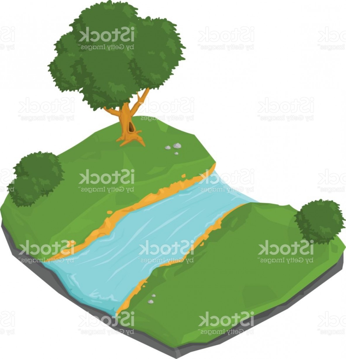 River Silhouette Vector Art: Isometric Natural Rural River Icon Gm