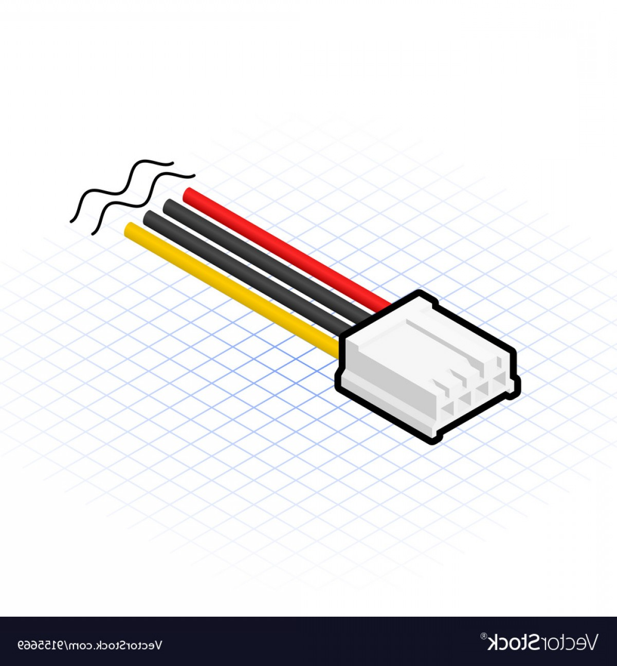 Vector Connector: Isometric Pin Floppy Connector Vector