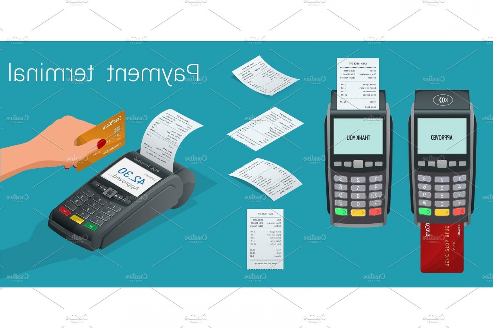 Vector One Debit Check: Isometric Set Vector Online Payment Systems And Self Service Payments Terminals Debit Credit Card And Cash Receipt