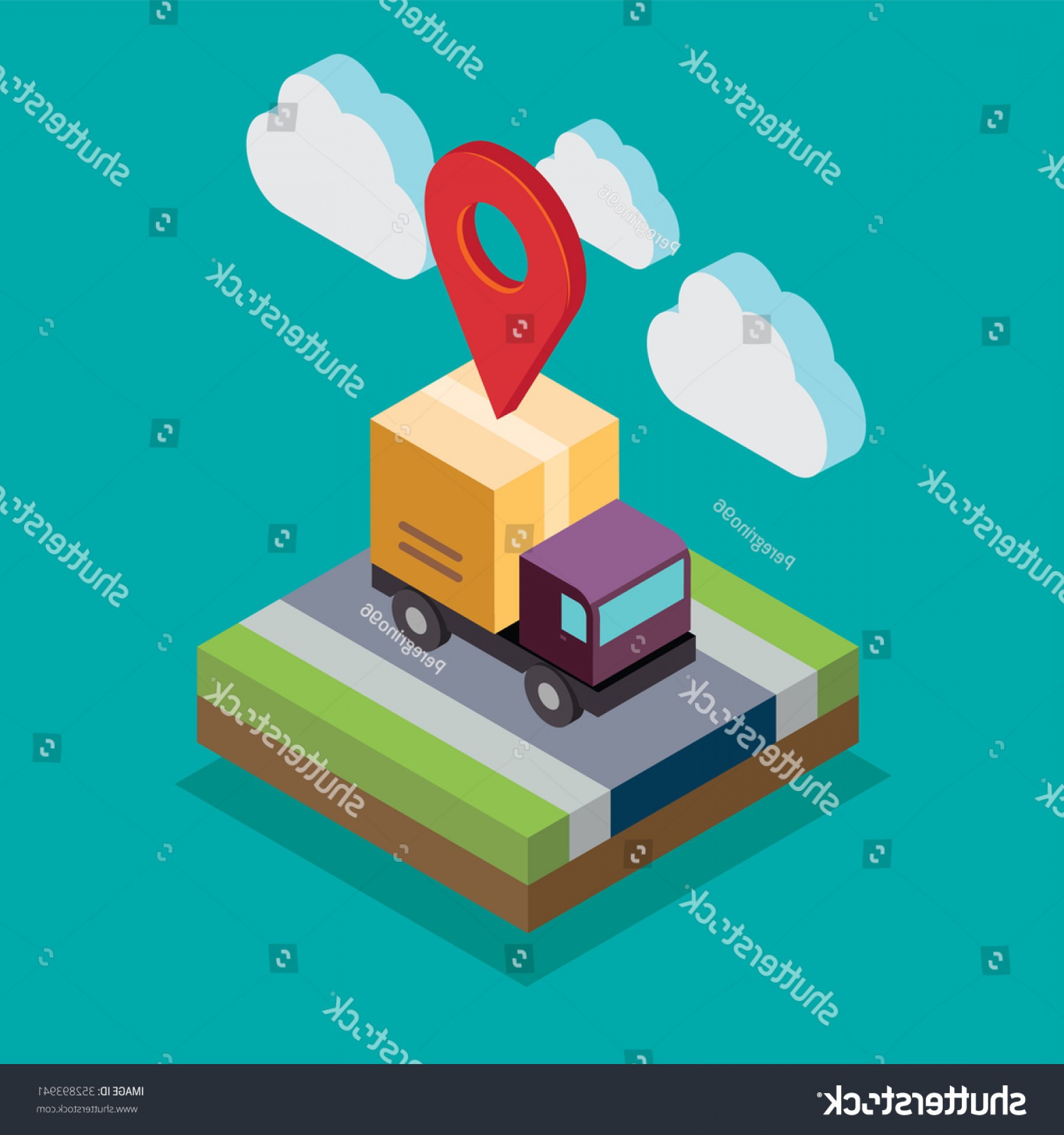 Illustrator Vector Format: Isometric Truck Illustrator Vector Format