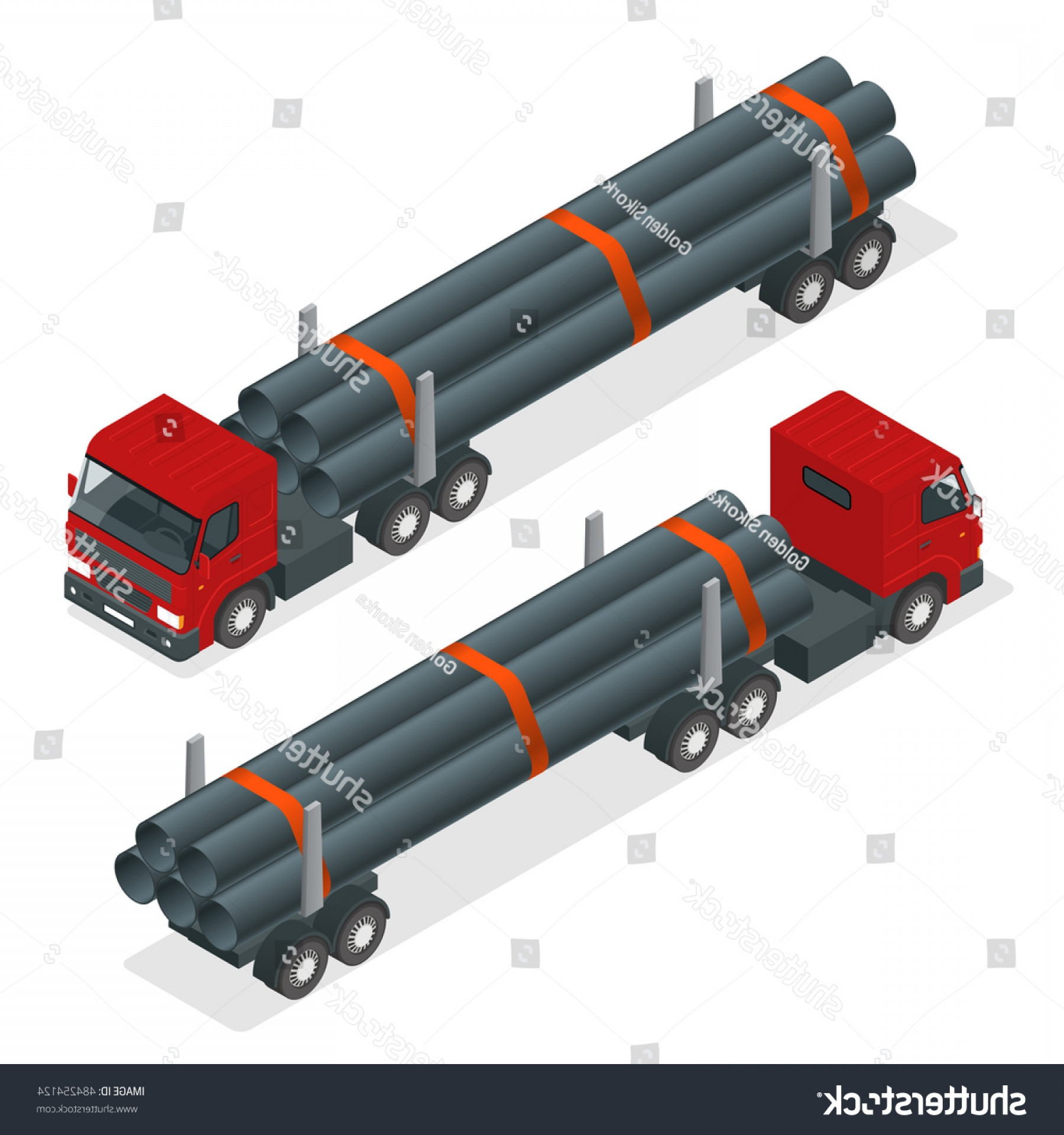 Vector Truck And Trailer Hauling: Isometric Truck Tractor Flatbed Trailer Hauling