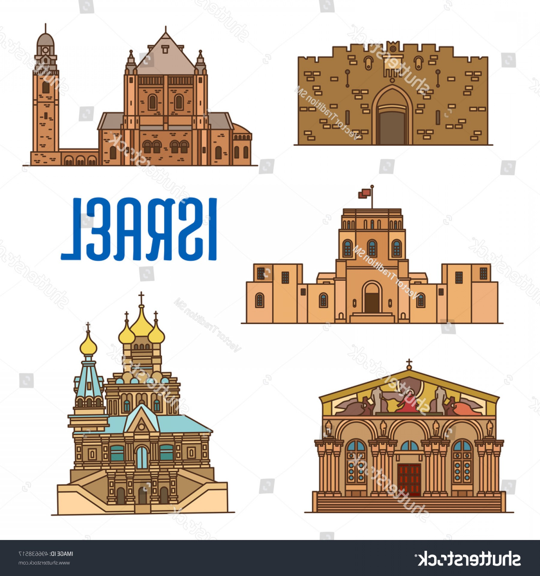 Faith Lions Vector Art Images: Israel Vector Detailed Architecture Icons Lions