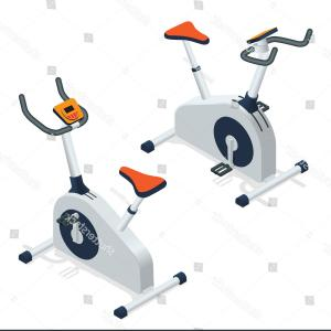 Indoor Cycling Bike Vector: Stock Illustration Exercise Bike Spinning Fitness Class