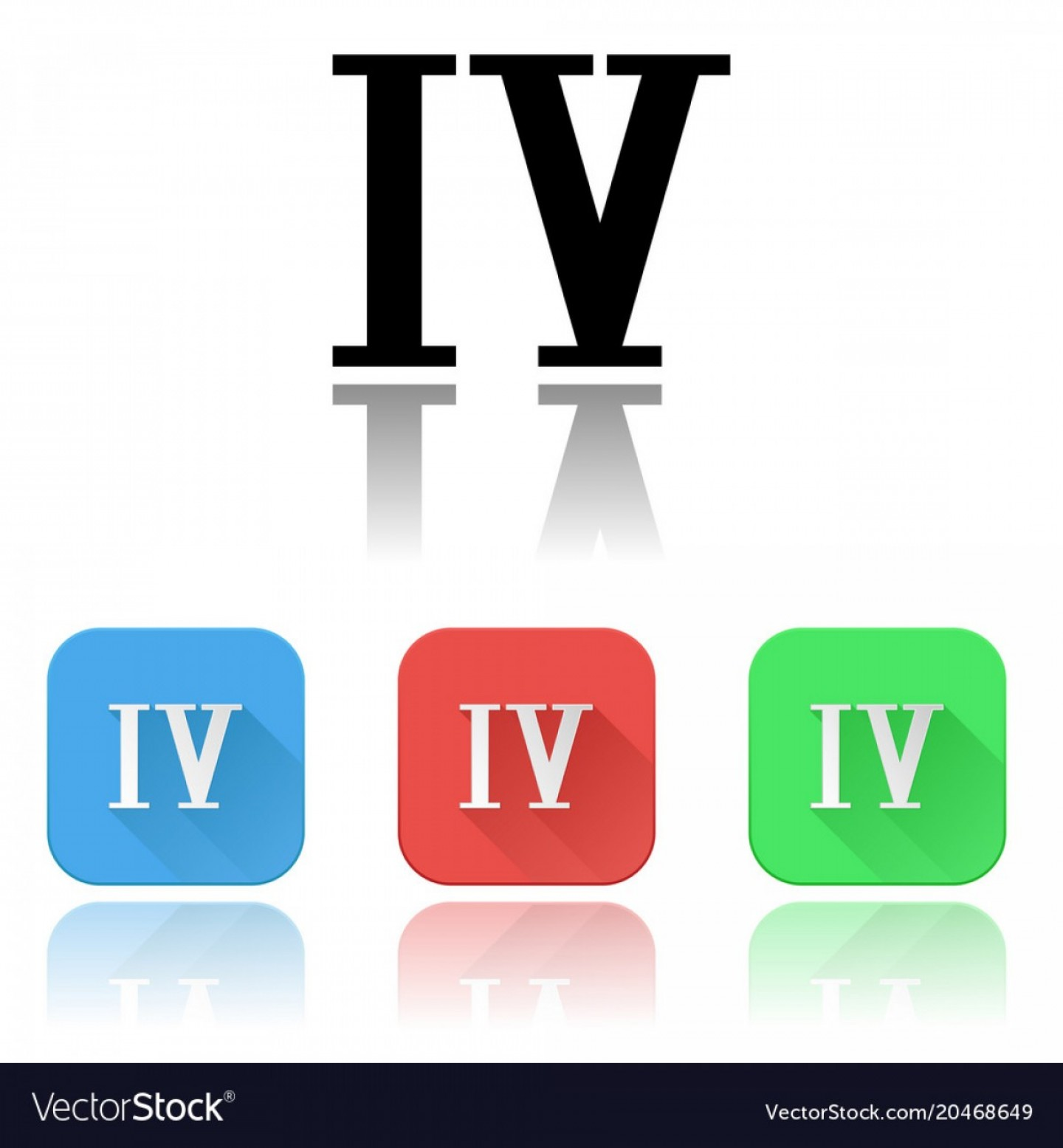Vector IV: Iv Roman Numeral Icons Colored Set With Vector