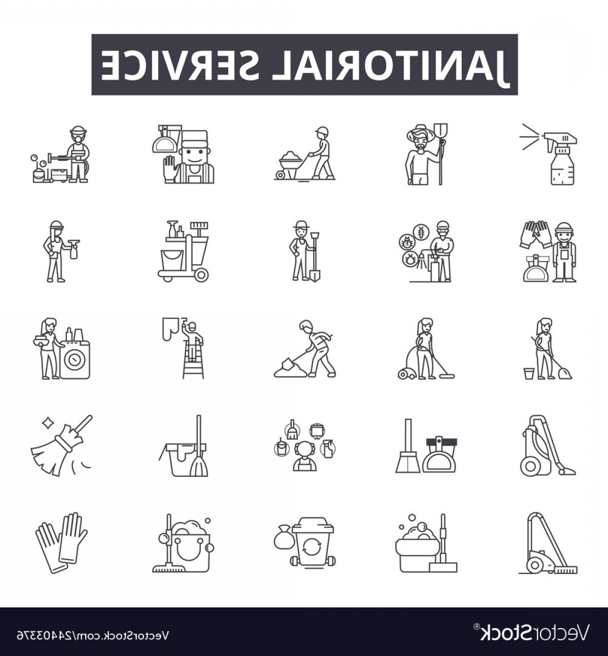 Janitorial Vector: Janitorial Service Line Icons For Web And Mobile Vector