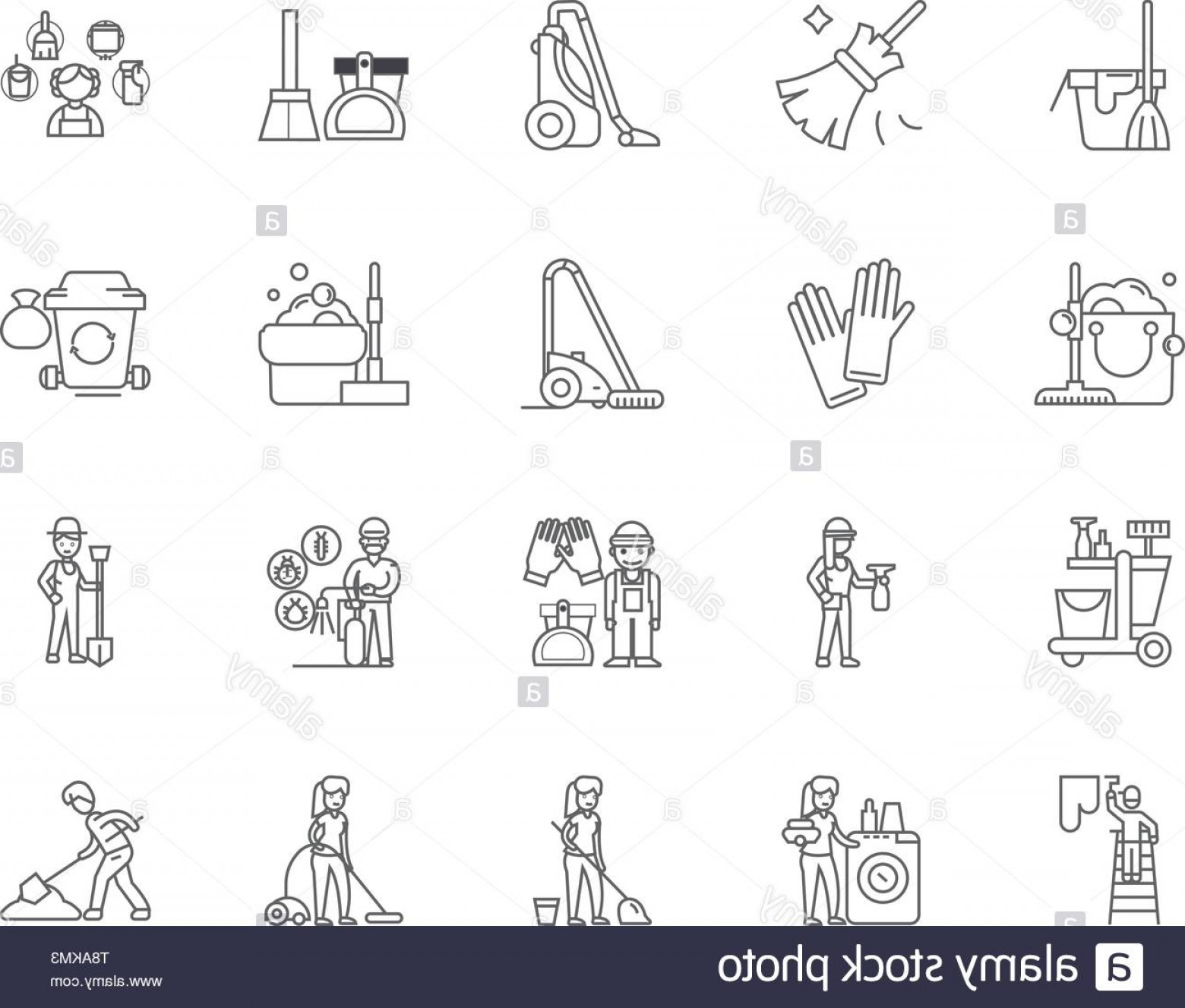Janitorial Vector: Janitorial Service Line Icons Signs Vector Set Outline Illustration Concept Image