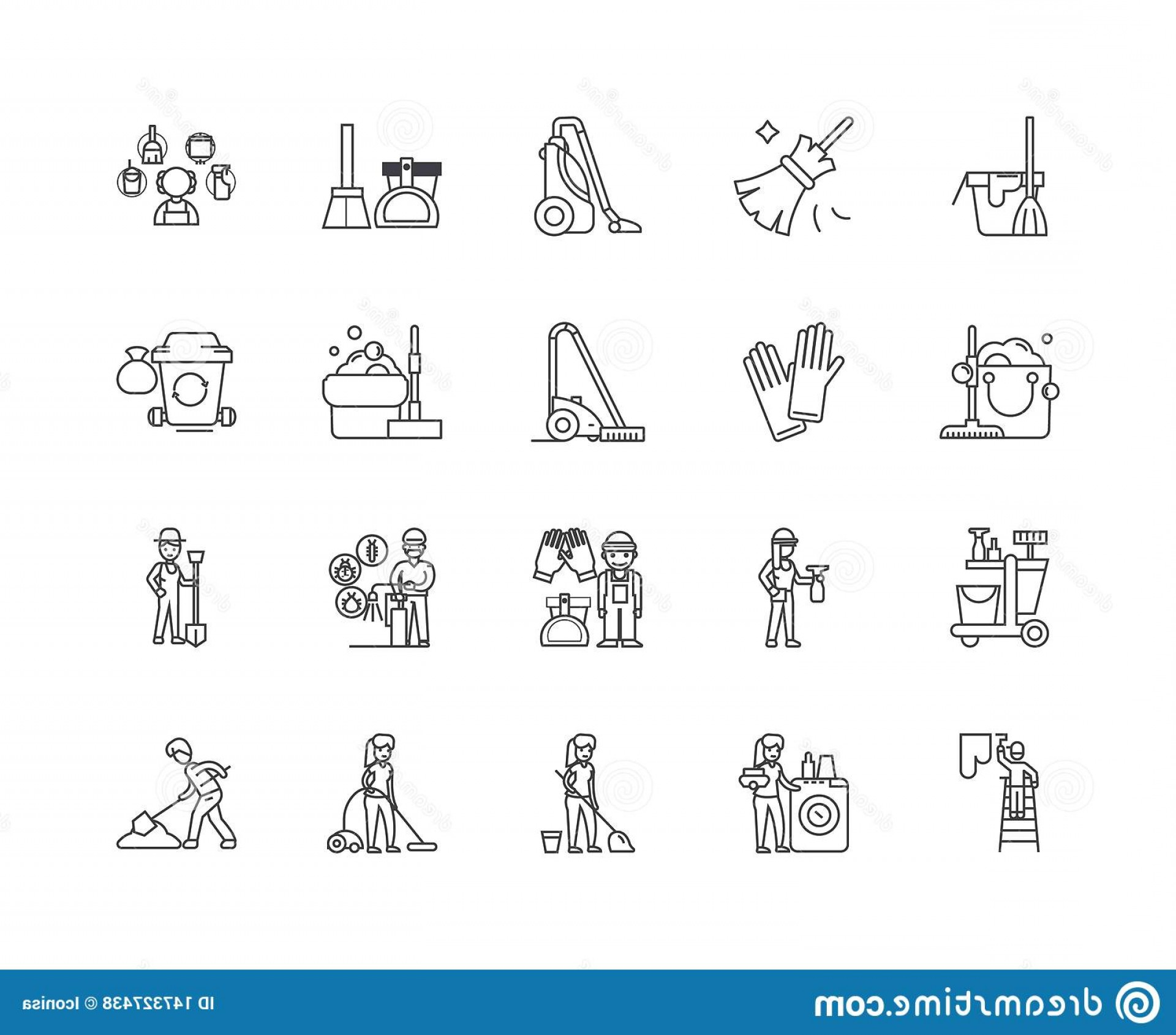 Janitorial Vector: Janitorial Service Line Icons Signs Vector Set Outline Illustration Concept Linear Image