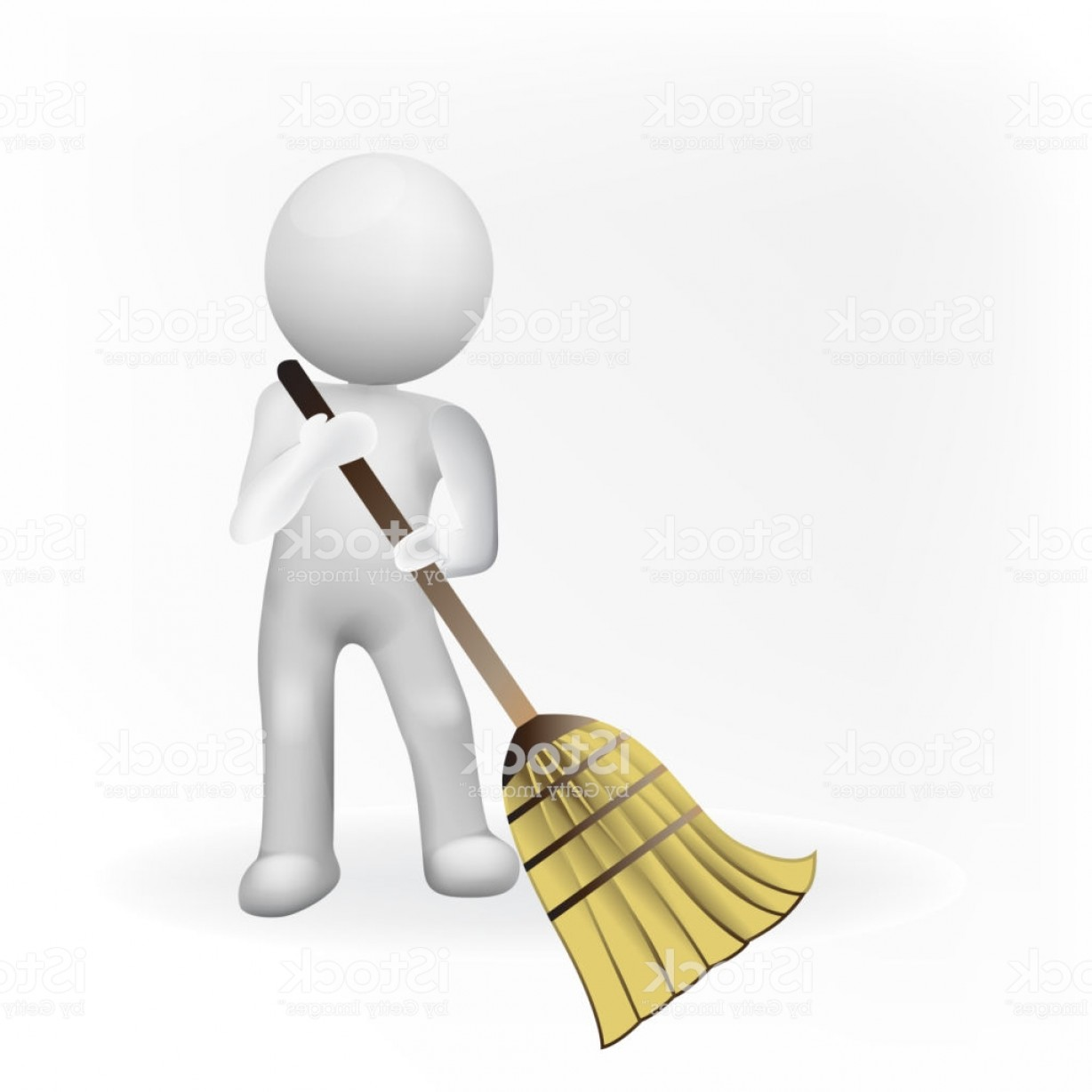 Cleaning Vector Janitorail: Janitorial Services Small D Man With Broom Business Icon Vector Gm
