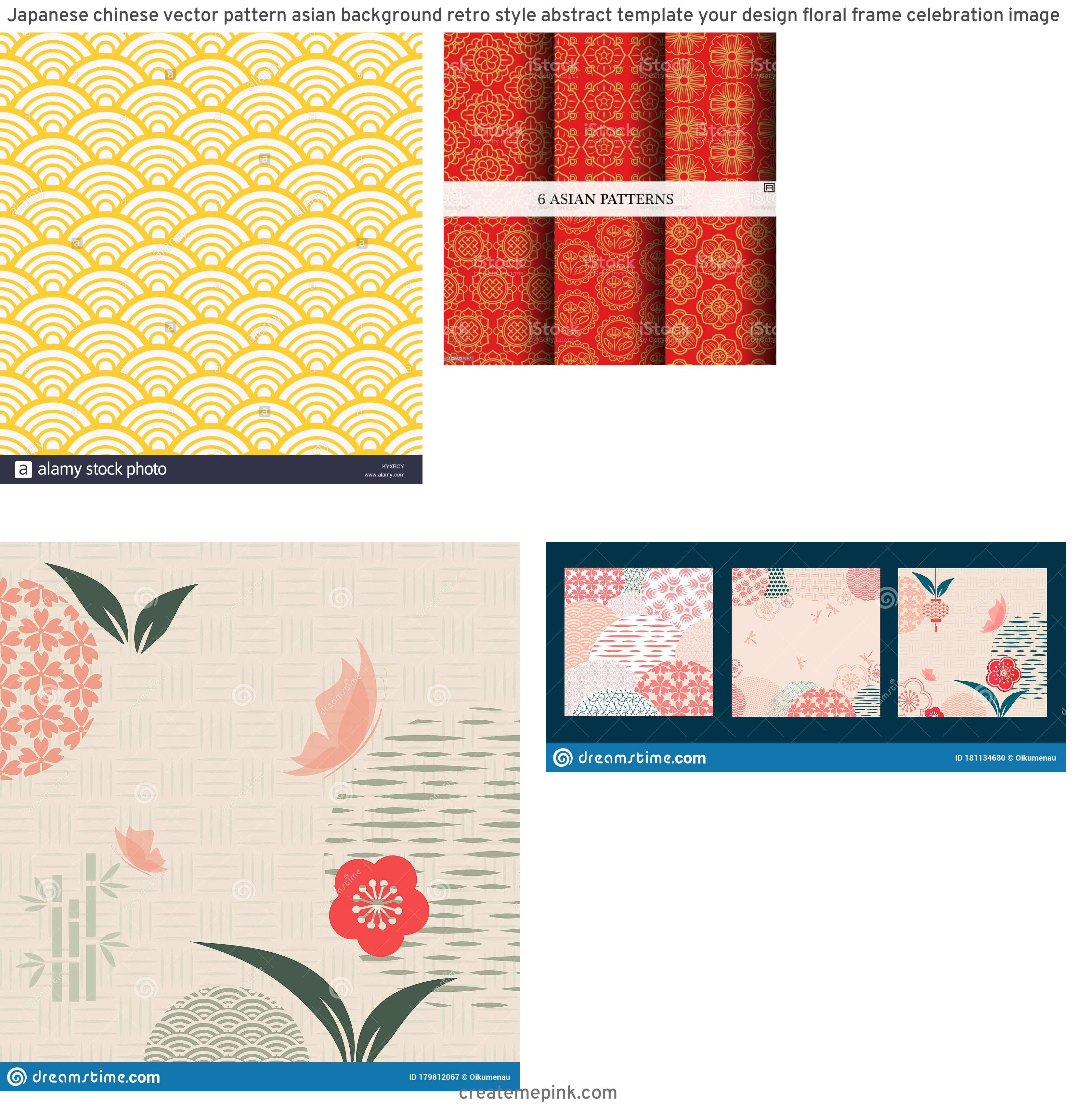 Asian Background Vector: Japanese Chinese Vector Pattern Asian Background Retro Style Abstract Template Your Design Floral Frame Celebration Image