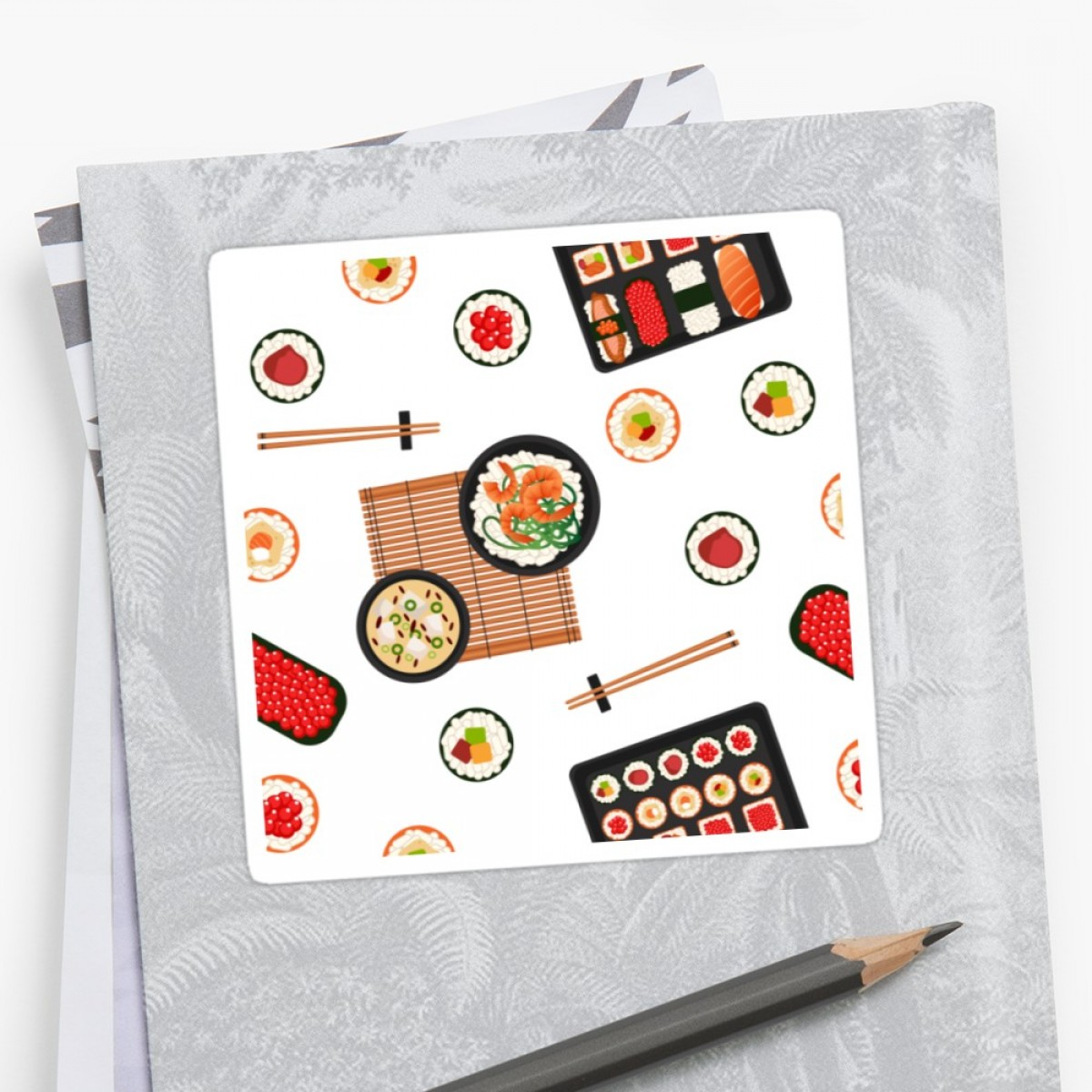 Vector Vinyl Rolls: Japanese Food Sea Food Sushi Background Seamless Pattern Sushi With Different Rolls Soup And Rice Vector Illustration Flat Style