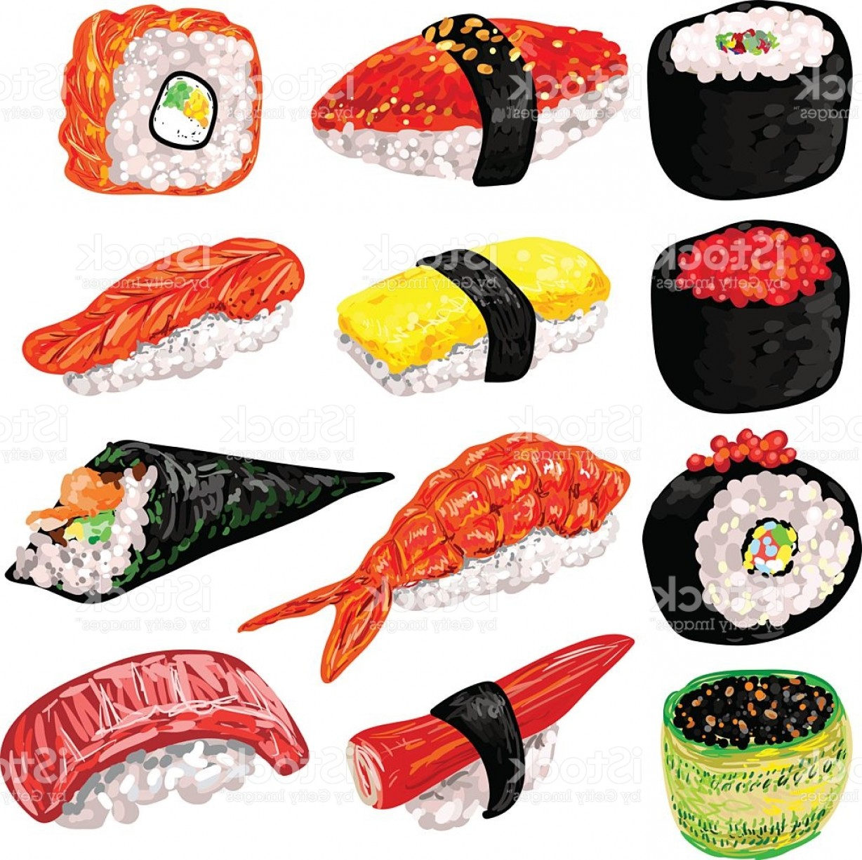 Sushi Vector Art: Japanese Food Sushi And Rolls Set Gm