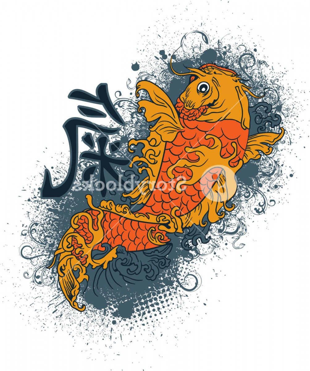 Koi Vector: Japanese Vector T Shirt Design With Koi Fish Bpvgjvismdwjgoau