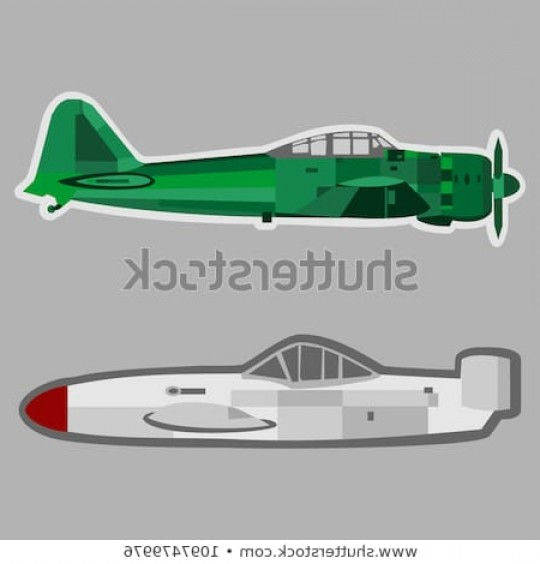 Old School Airplane Fighter Silhouette Vector: Japanese Ww Fighter Plane Vector Illustration