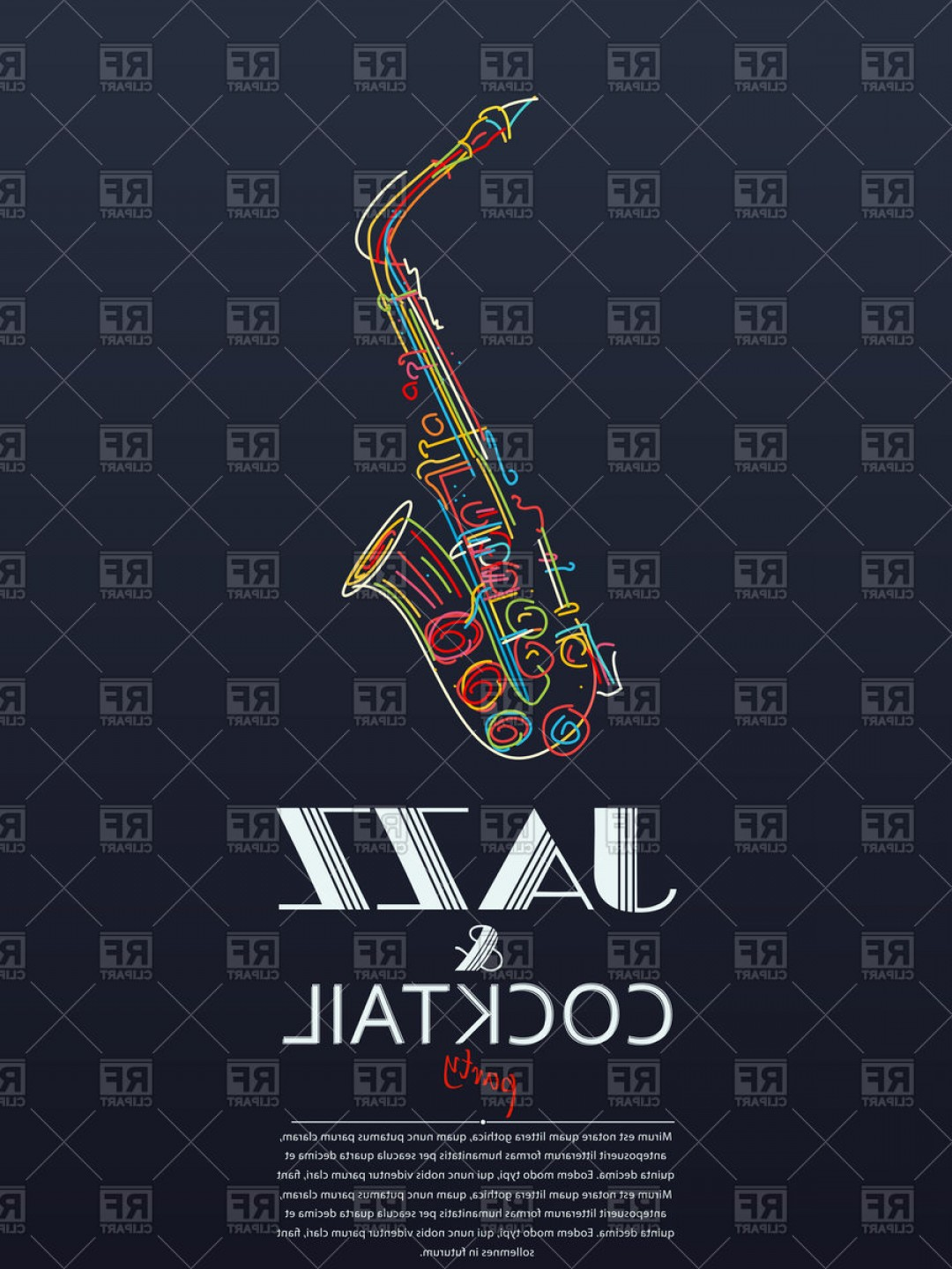 Alto Saxophone Vector Graphics: Jazz And Cocktail Party Poster With Colourful Saxophone Vector Clipart