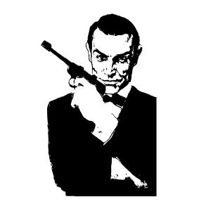 James Bond Vector Ai File: James Bond Secret Agent Black White Silo