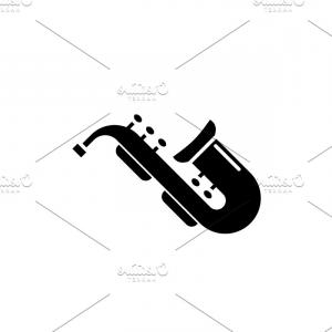 Saxophone Vector: Jazz Saxophone Black Icon Vector