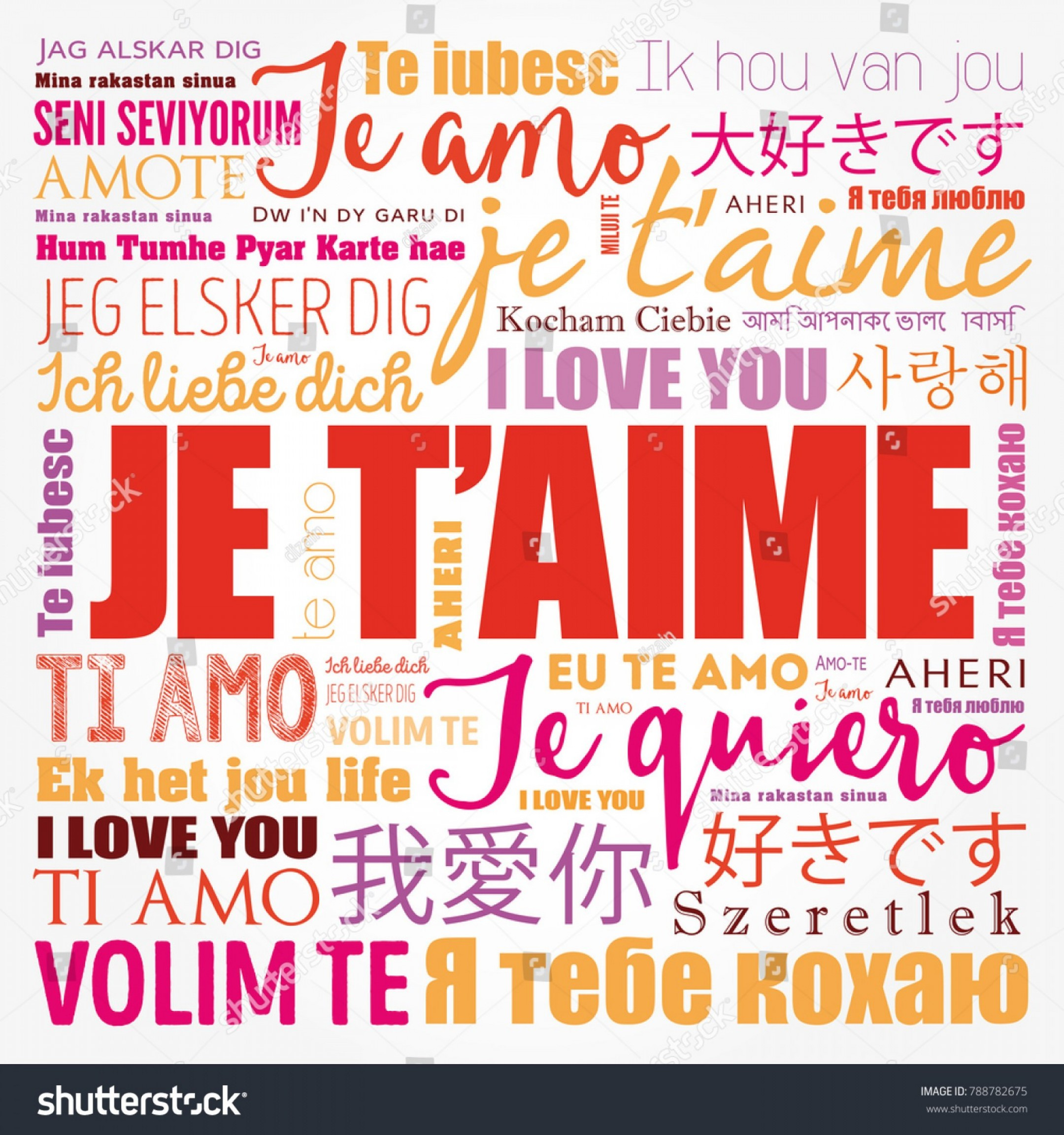 Vector Te Amos: Je I Love You French Different