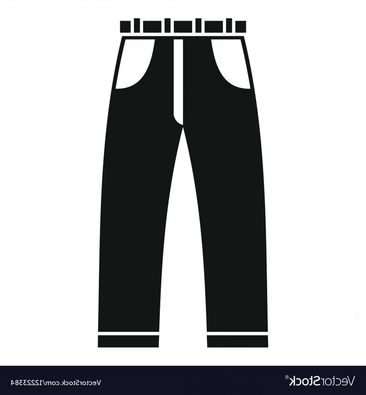 Vector Black Jeans: Jeans Icon Simple Style Vector