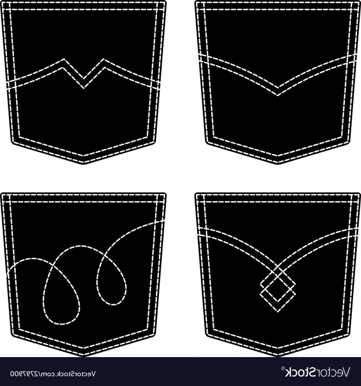 Vector Black Jeans: Jeans Pocket Black Symbols Vector