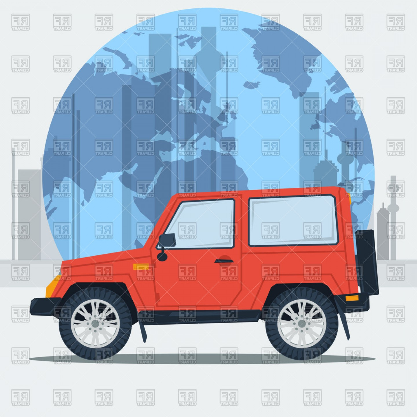Vector Clip Art Of Jeep: Jeep Car On Town Background Vector Clipart