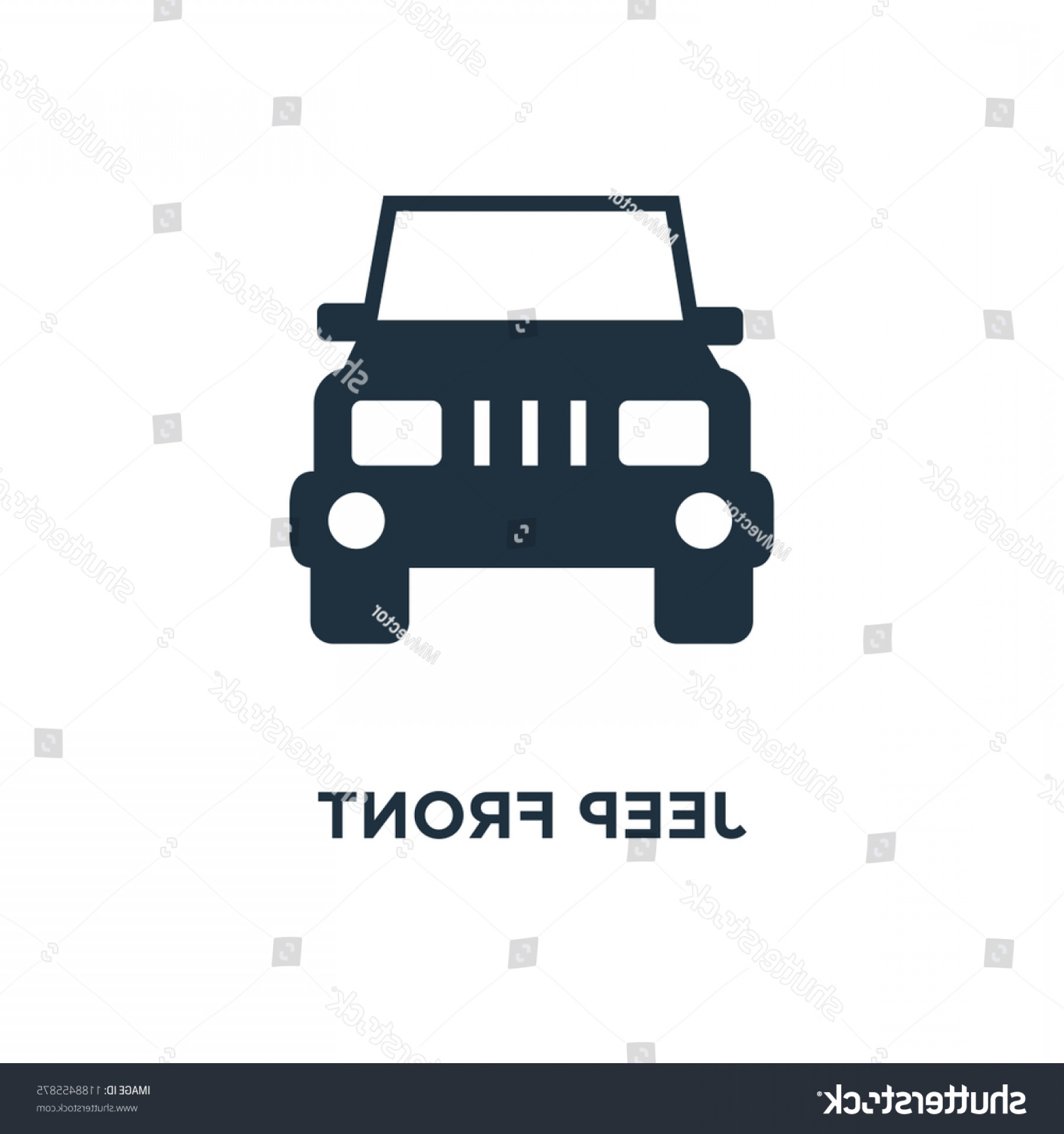 Vector Clip Art Of Jeep: Jeep Front Icon Black Filled Vector