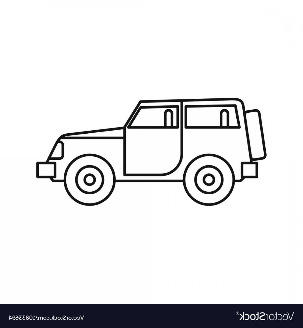 Jeep Tire Vector: Jeep Icon In Outline Style Vector