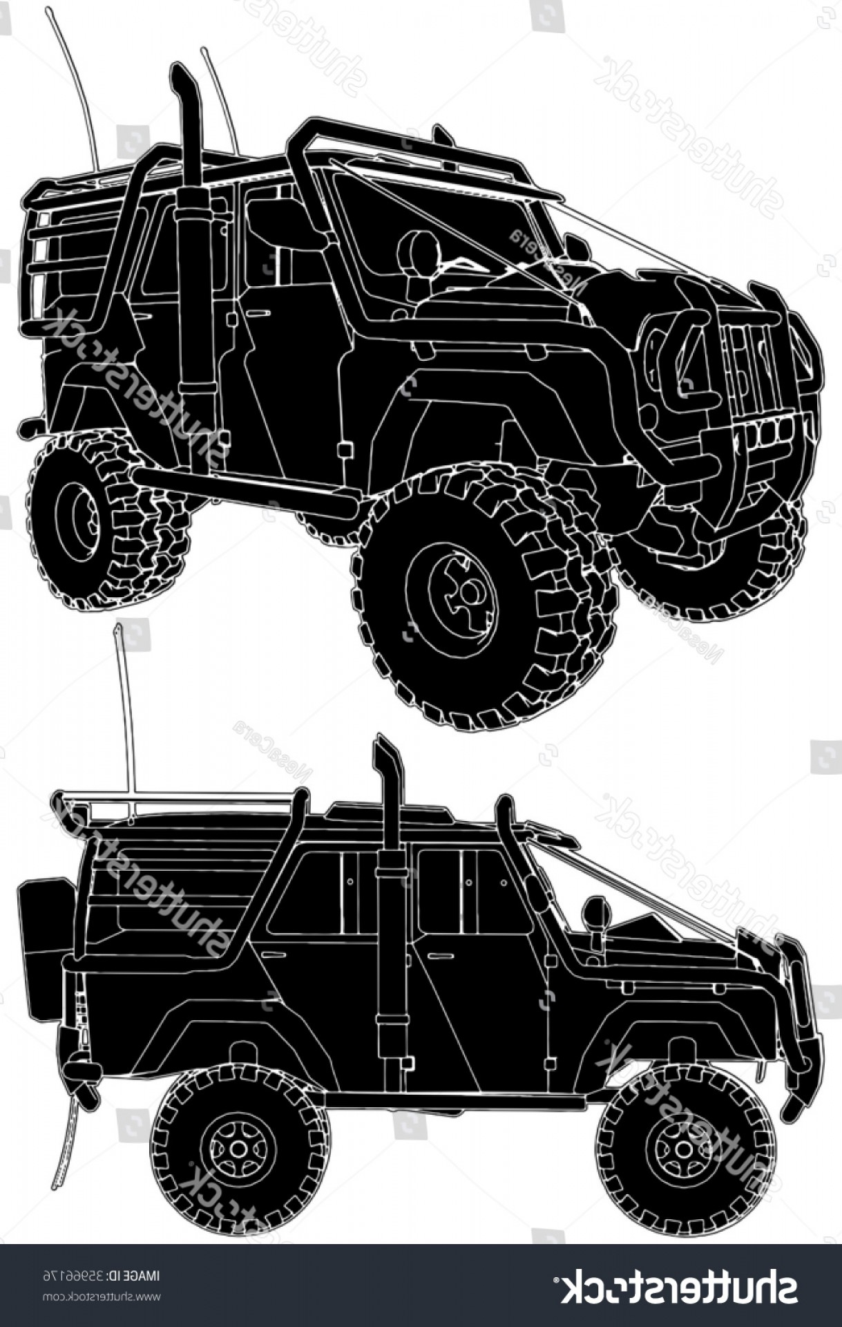 Jeep Off-Road Vector Art: Jeep Offroad Car Vector