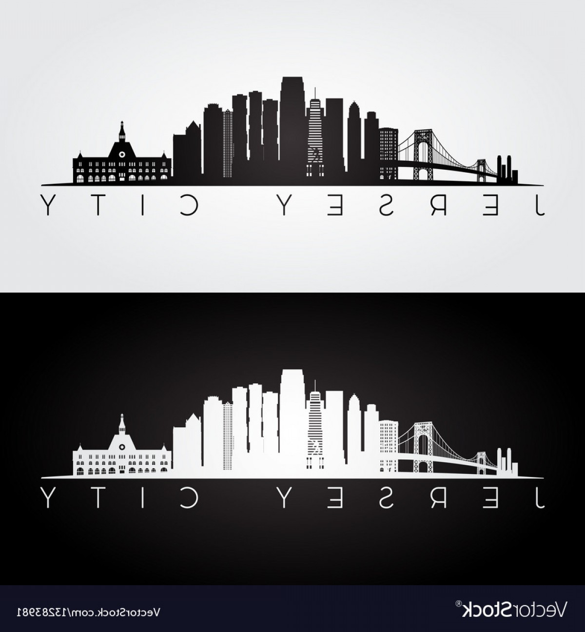 City Vector: Jersey City Usa Skyline And Landmarks Silhouette Vector