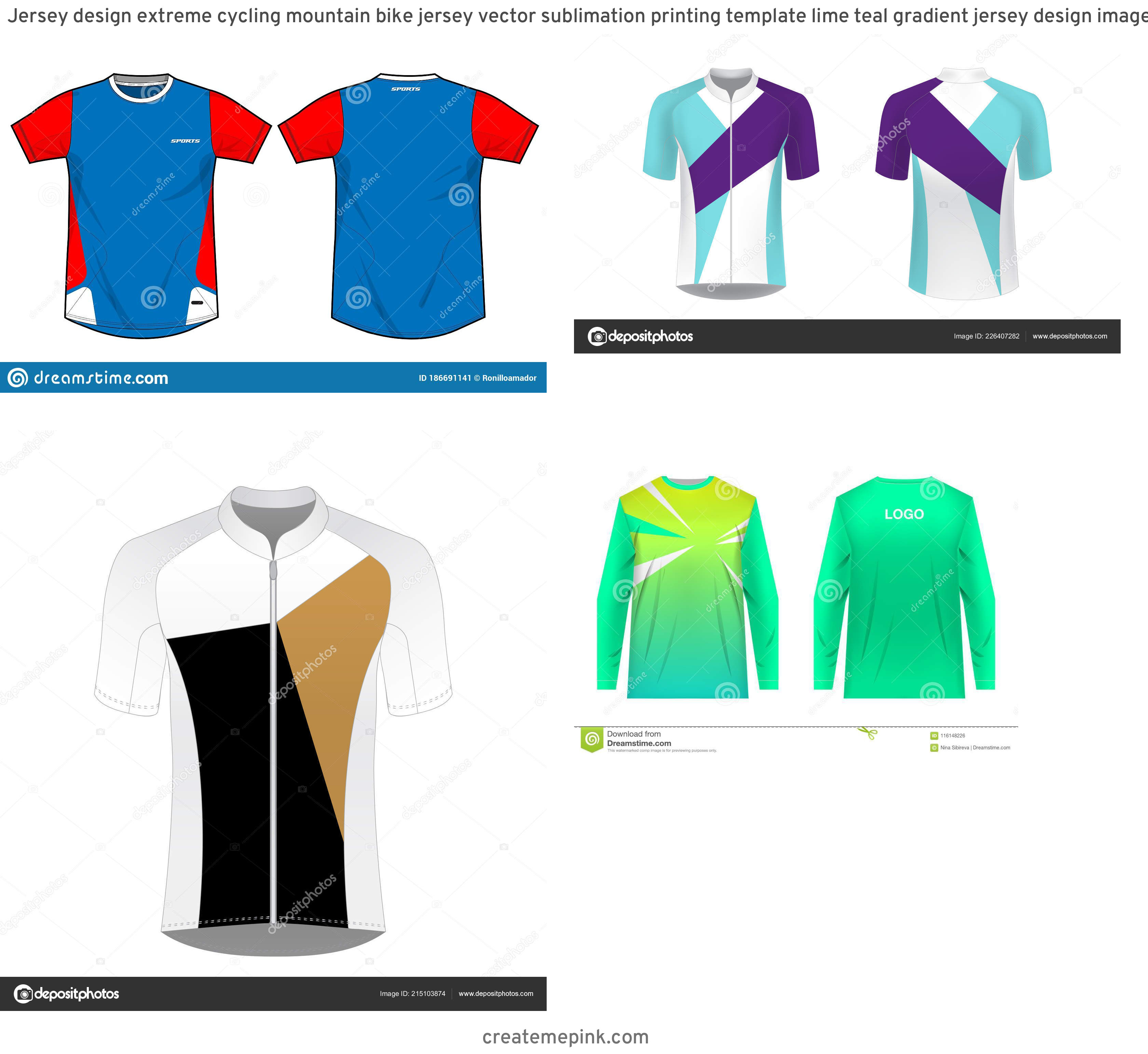 Cycling Kit Template Vector: Jersey Design Extreme Cycling Mountain Bike Jersey Vector Sublimation Printing Template Lime Teal Gradient Jersey Design Image