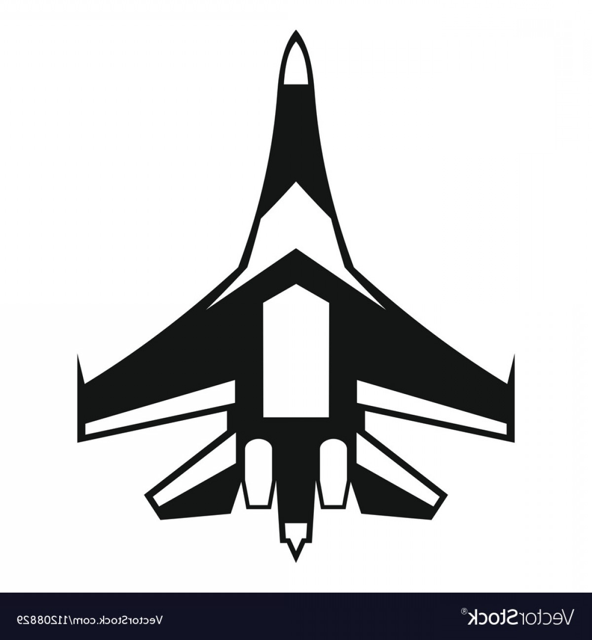 Vector Jet Fighter: Jet Fighter Plane Icon Simple Style Vector