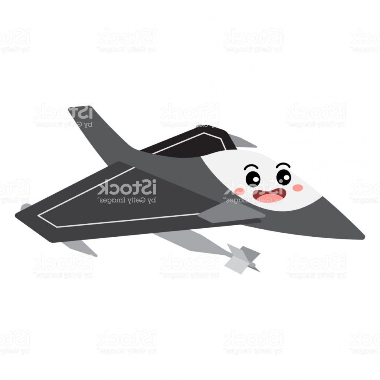 Vector X-15 Art: Jet Fighter Transportation Cartoon Character Perspective View Vector Illustration Gm