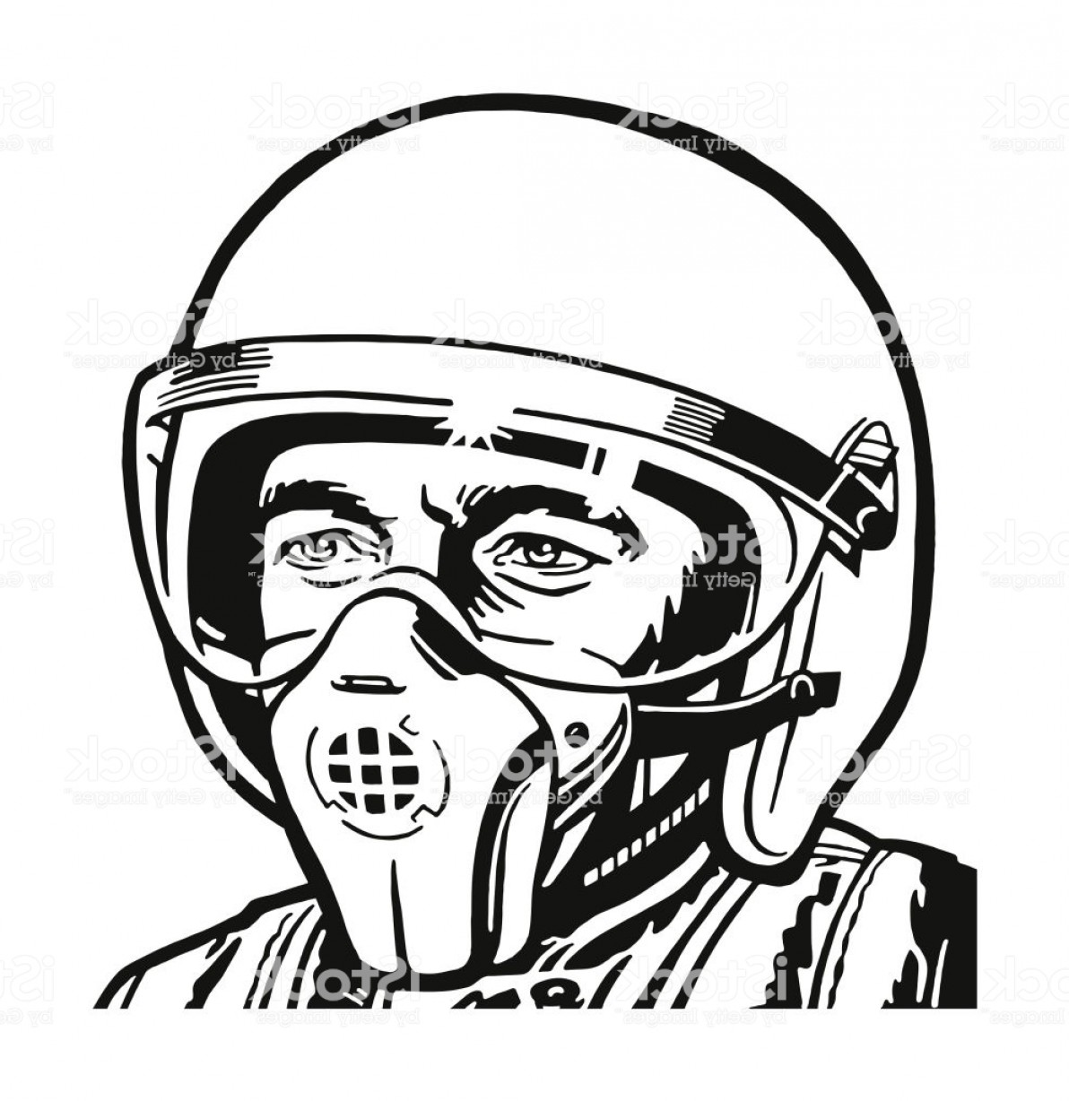 Fighter Helmet Vectors: Jet Pilot Wearing A Helmet And Mask Gm