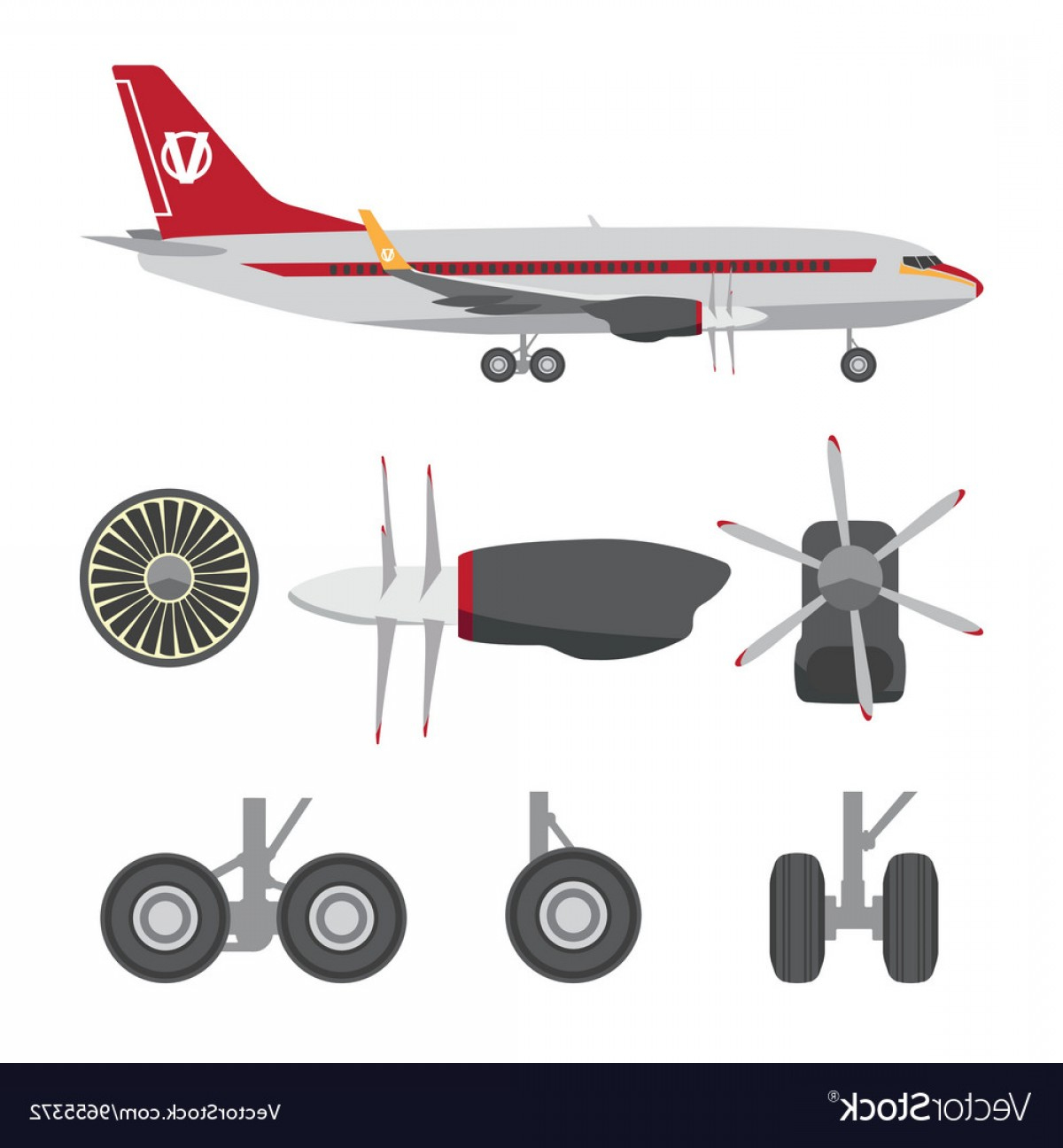 Model Planes Parts Vector: Jets Constructor Flat Icons Aircraft Parts Vector
