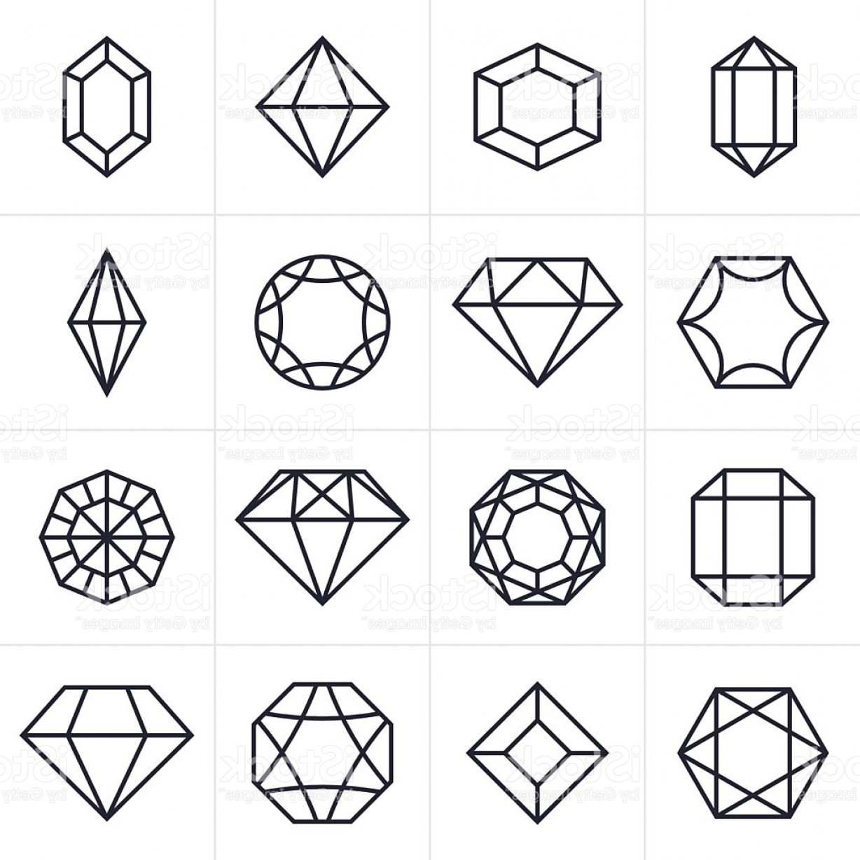 Jewelry Vector Line Art: Jewel And Gem Icons And Symbols Gm