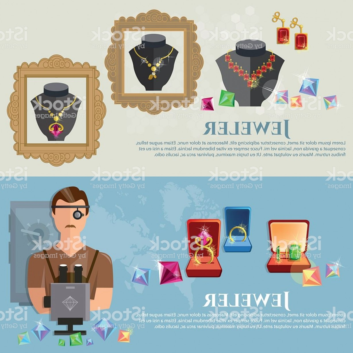 Jewelry Manufacturing Icon Vector: Jewelry Banners Jeweler At Work Sale And Manufacture Of Jewelery Gm