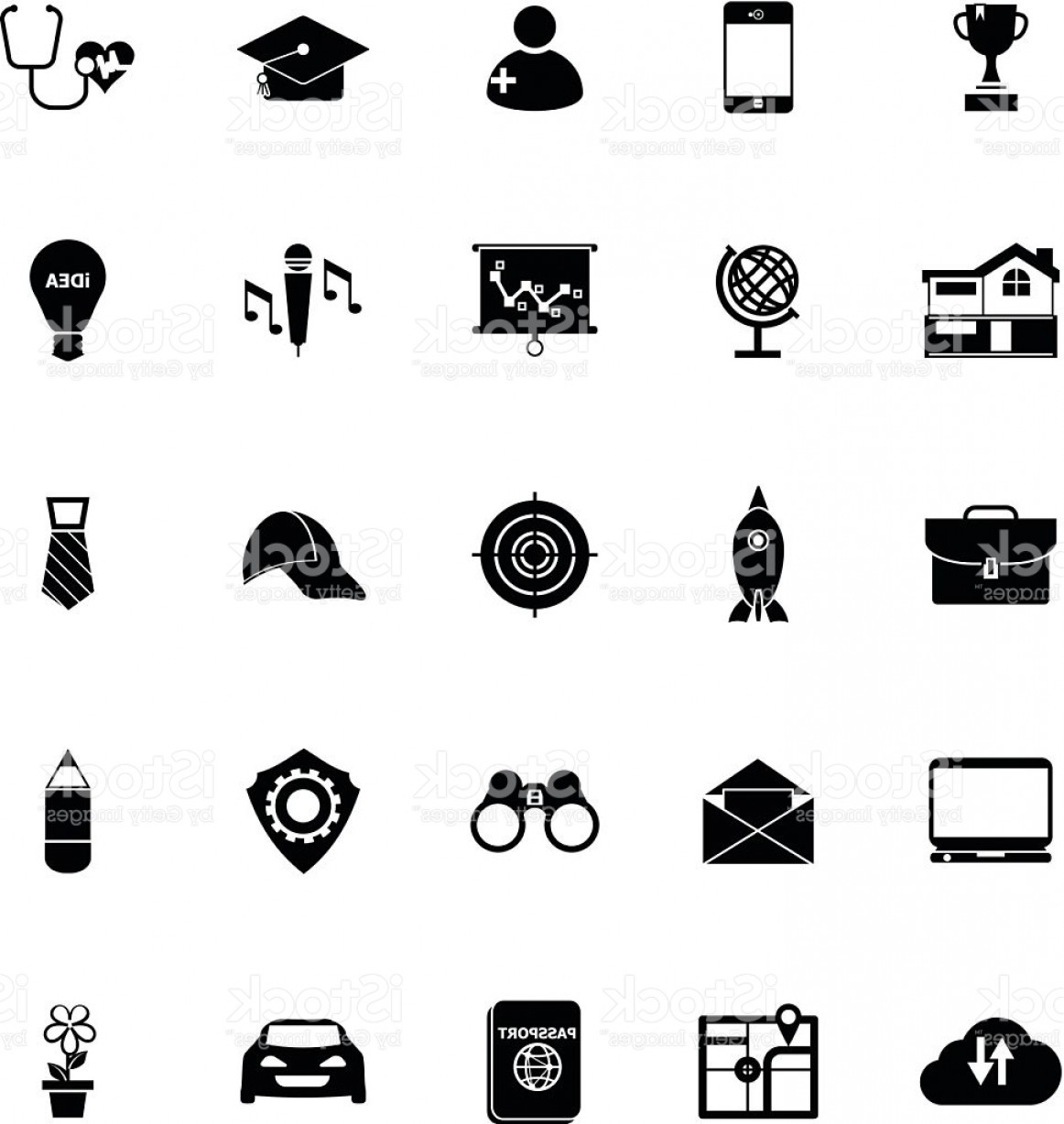 Vectors Job Description: Job Description Icons On White Background Gm